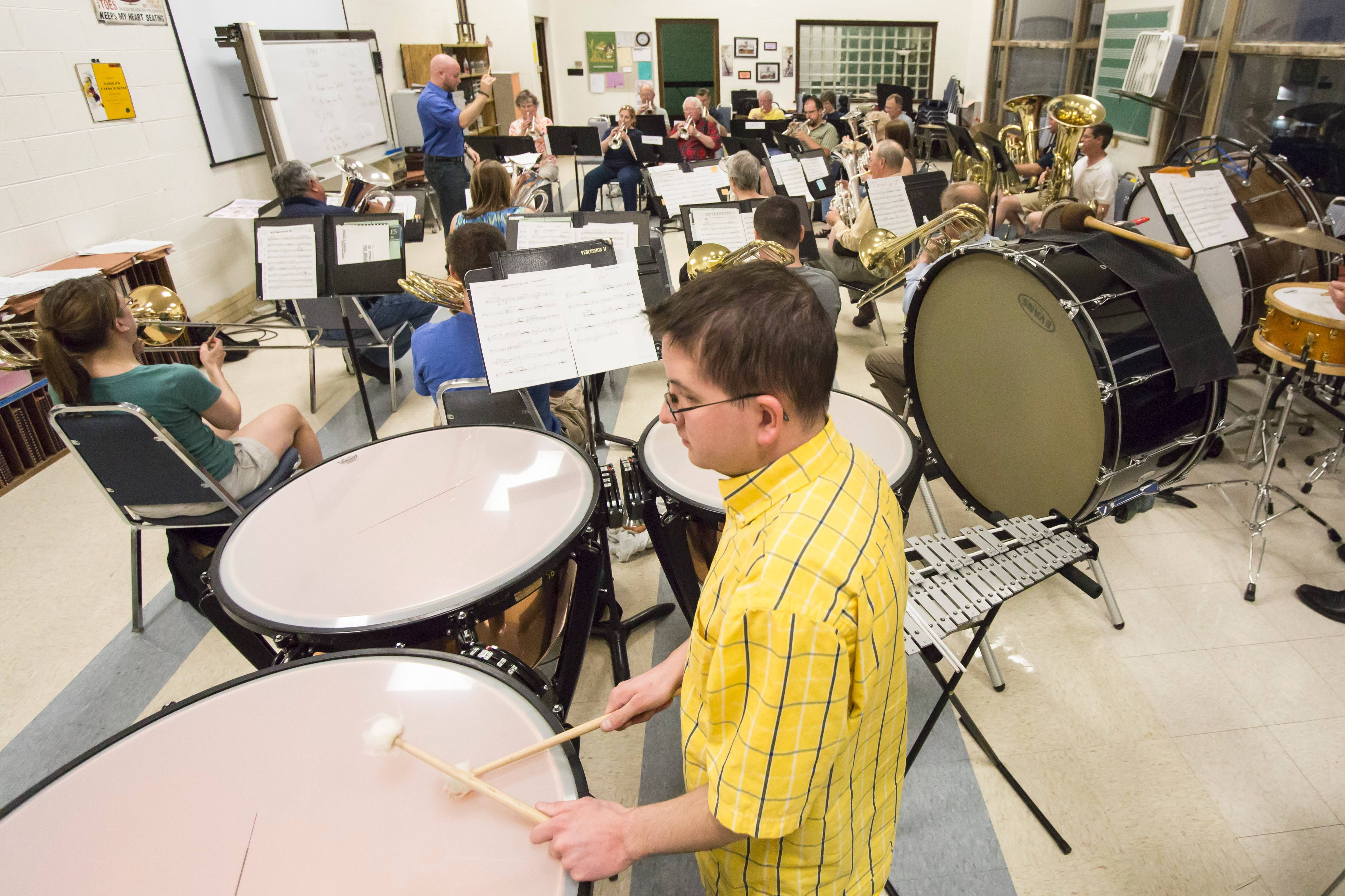 The Prairie Brass Band rehearses at Christian Liberty Academy with Peter Held conducting.