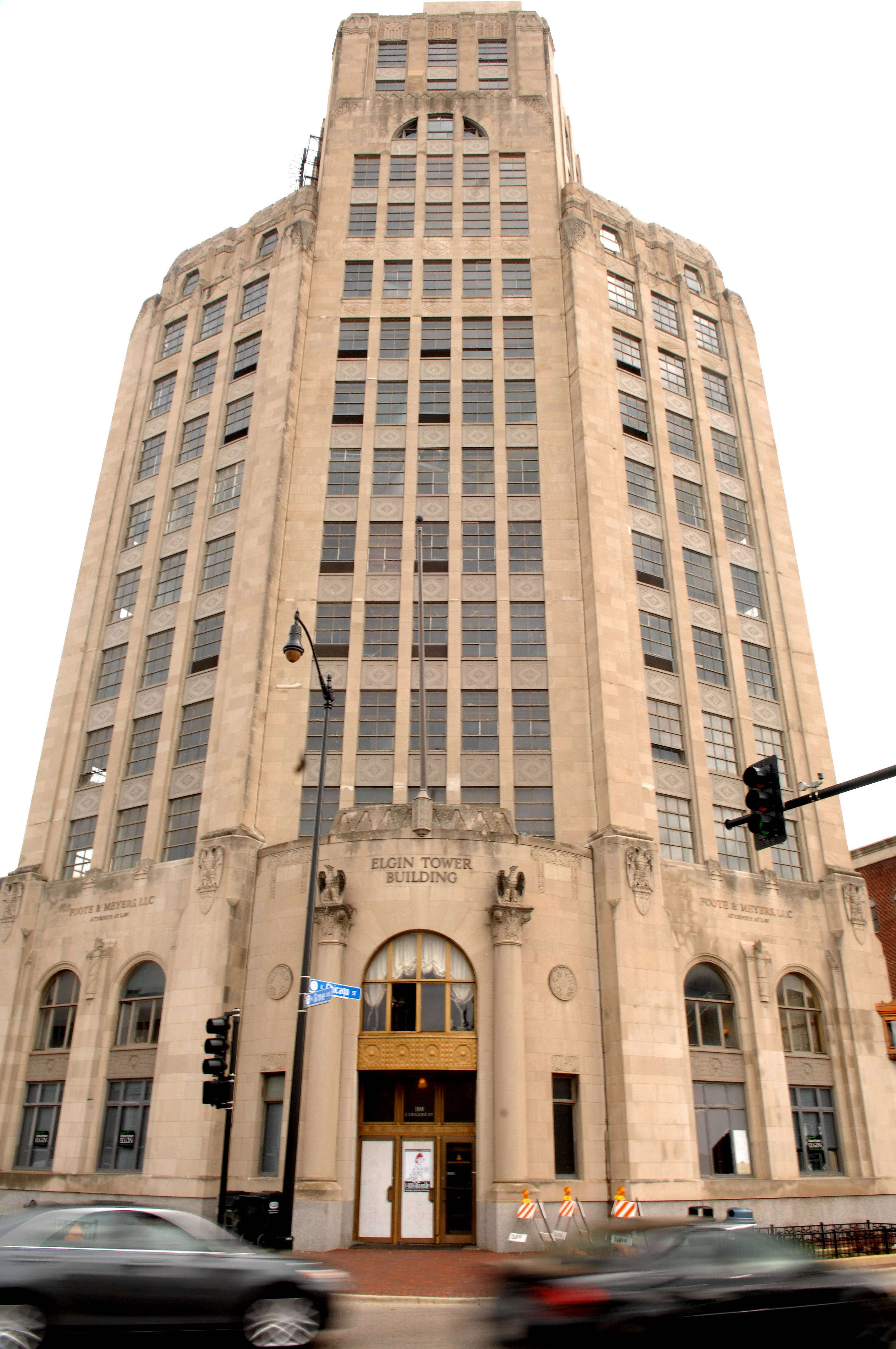 Arson is suspected in a fire Sunday at the Elgin Tower Building, the building manager said. The glass front door was broken to gain access to the building, and items including a garbage can were on fire inside the elevator, fire officials said.