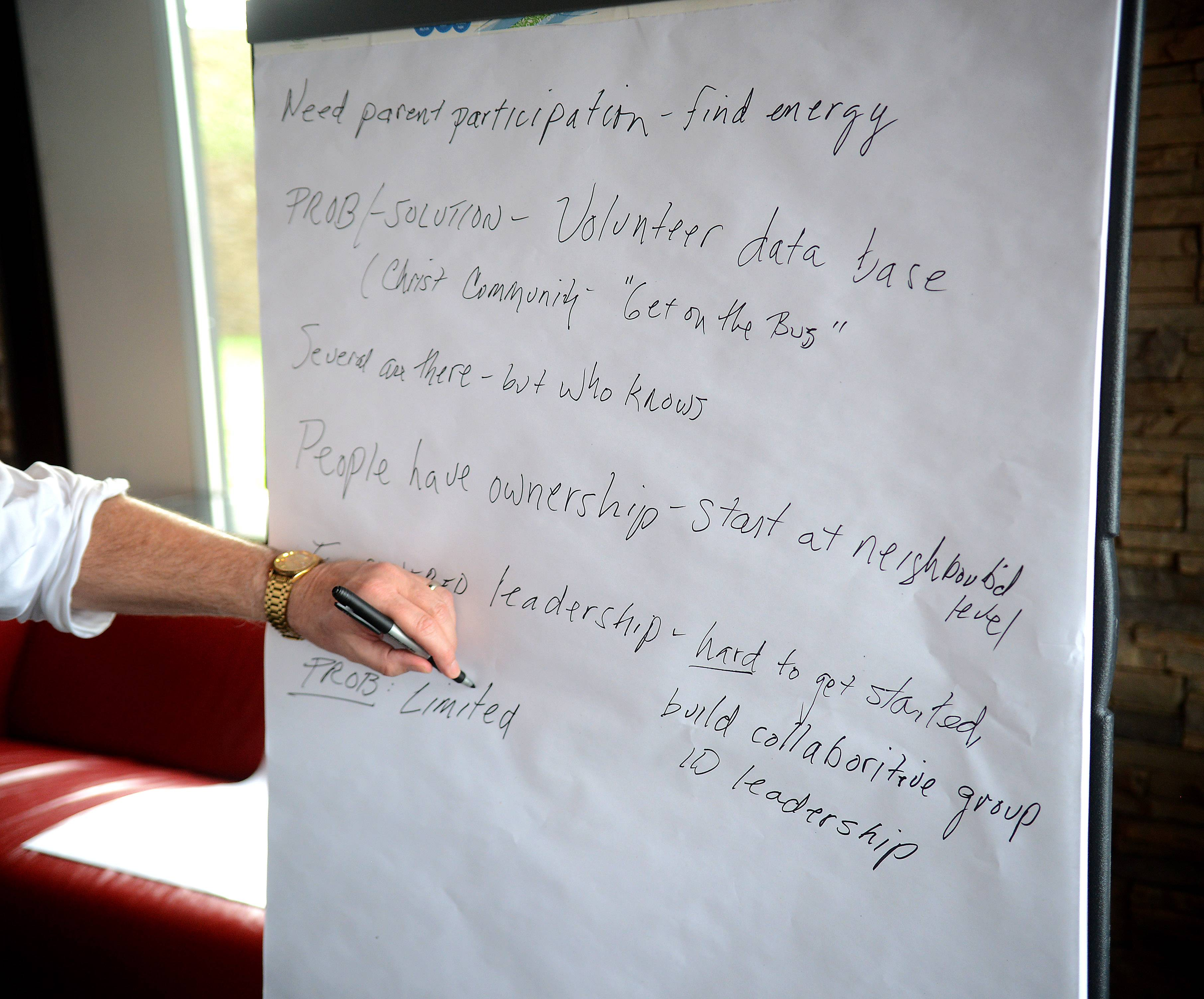 Ideas are collected during an On the Table event Monday in Elgin.