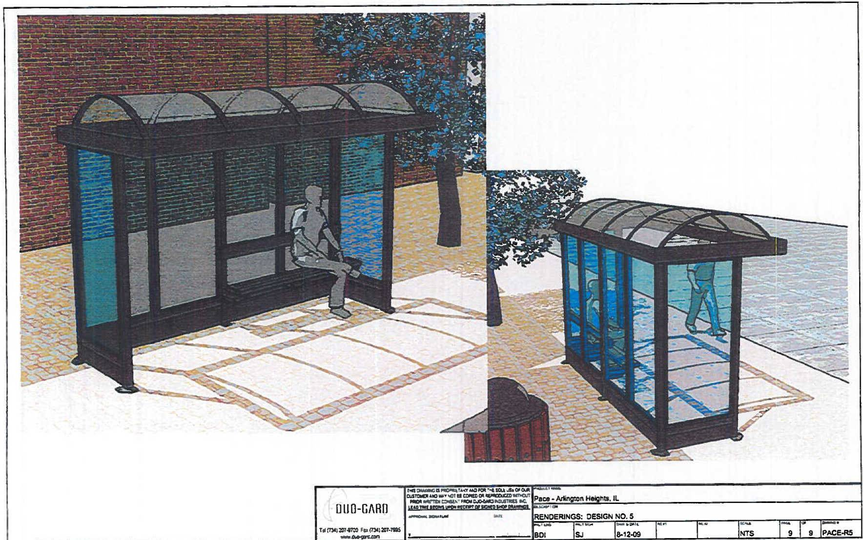 This sketch shows the proposed bus shelter on Miner Street in downtown Des Plaines.