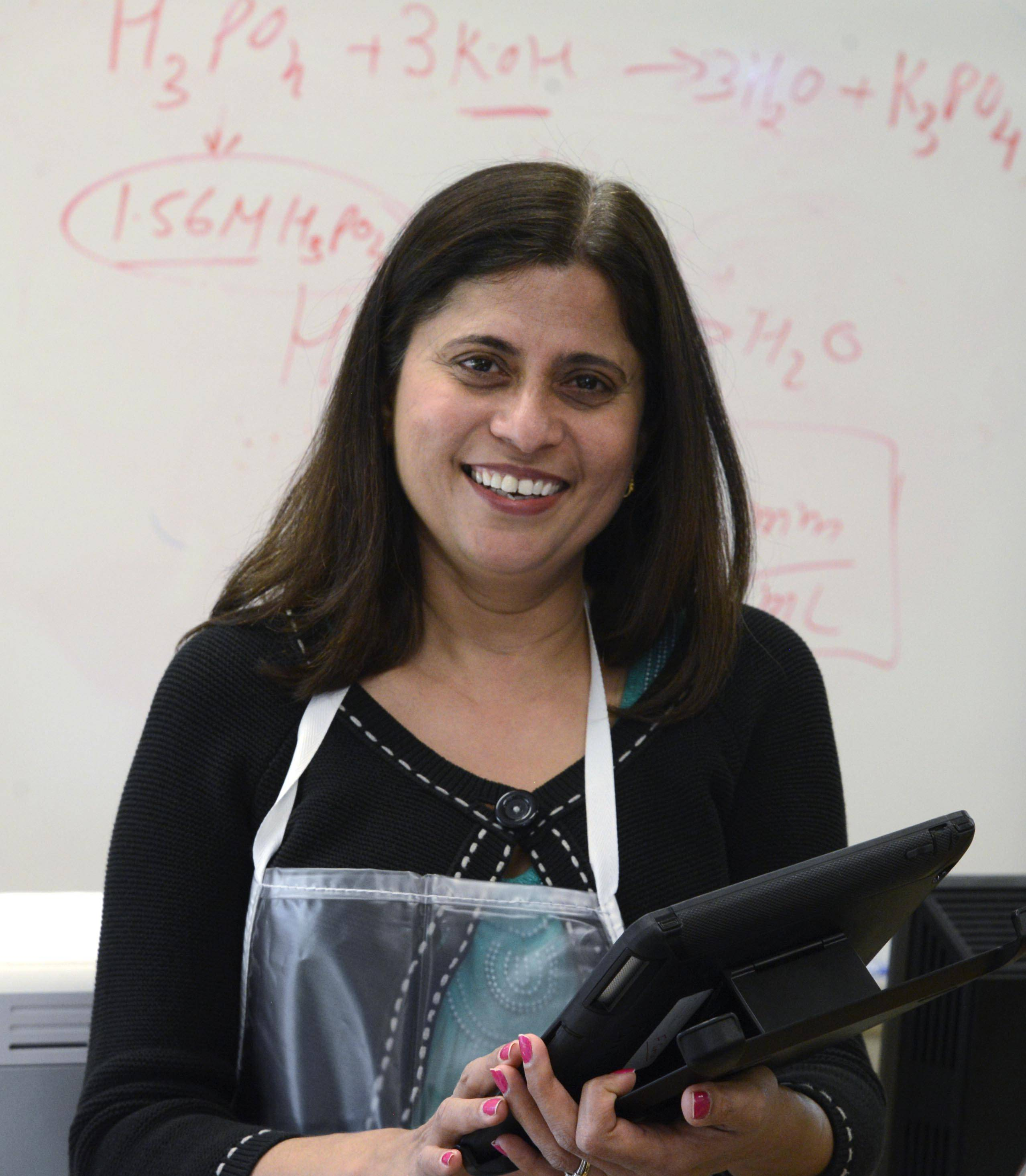 Falguni Soni is a chemistry and robotics teacher at Rosary High School in Aurora. She takes special pride in the performance of her students in science and engineering competitions.