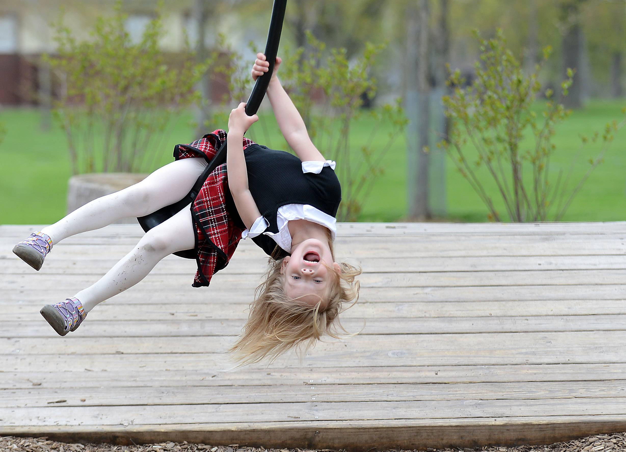Violet Mustard, 4, of St. Charles, yells out to her mom to watch as she hangs upside down swinging on a playground zipline at Island Park in