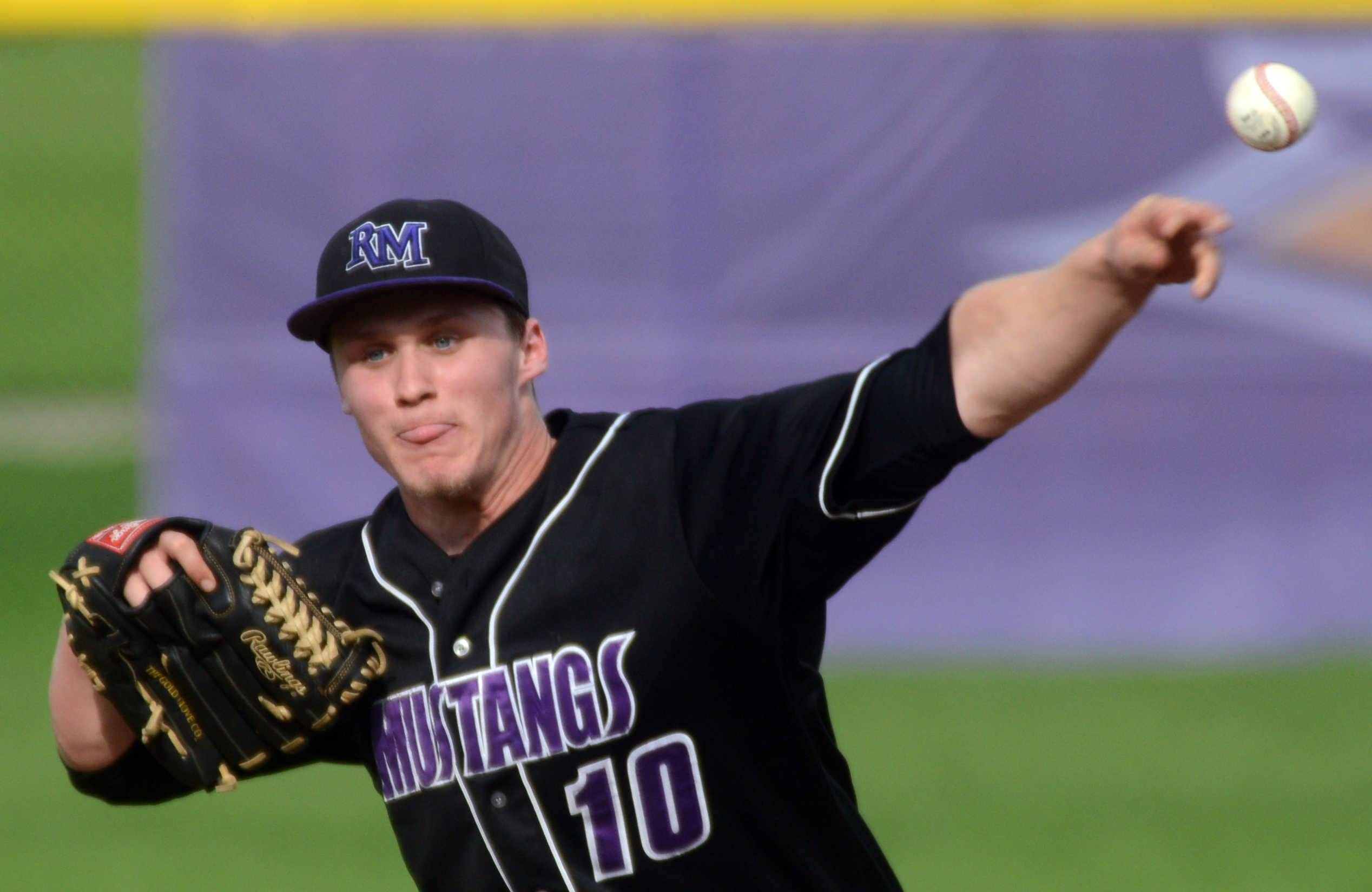 Rolling Meadows pitcher Erik Schurtz delivers against Elk Grove in Rolling Meadows on Monday night.