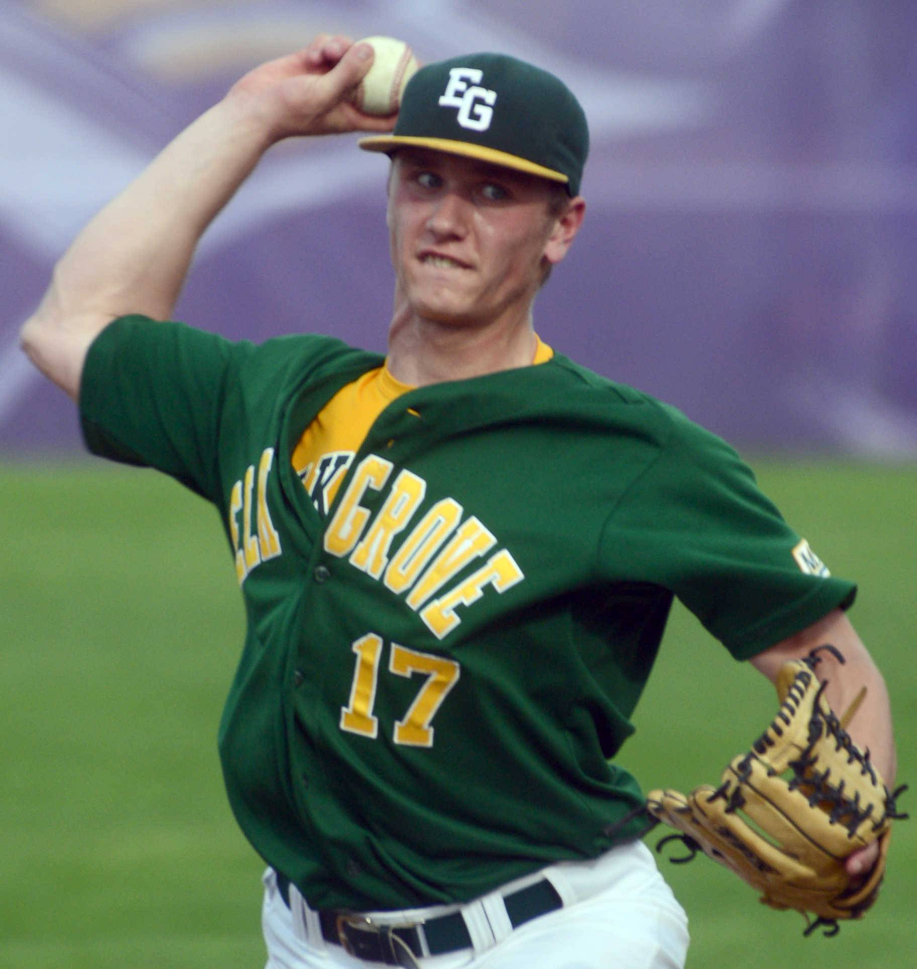 Elk Grove's  Adam O'Malley delivers against Rolling Meadows on Monday.