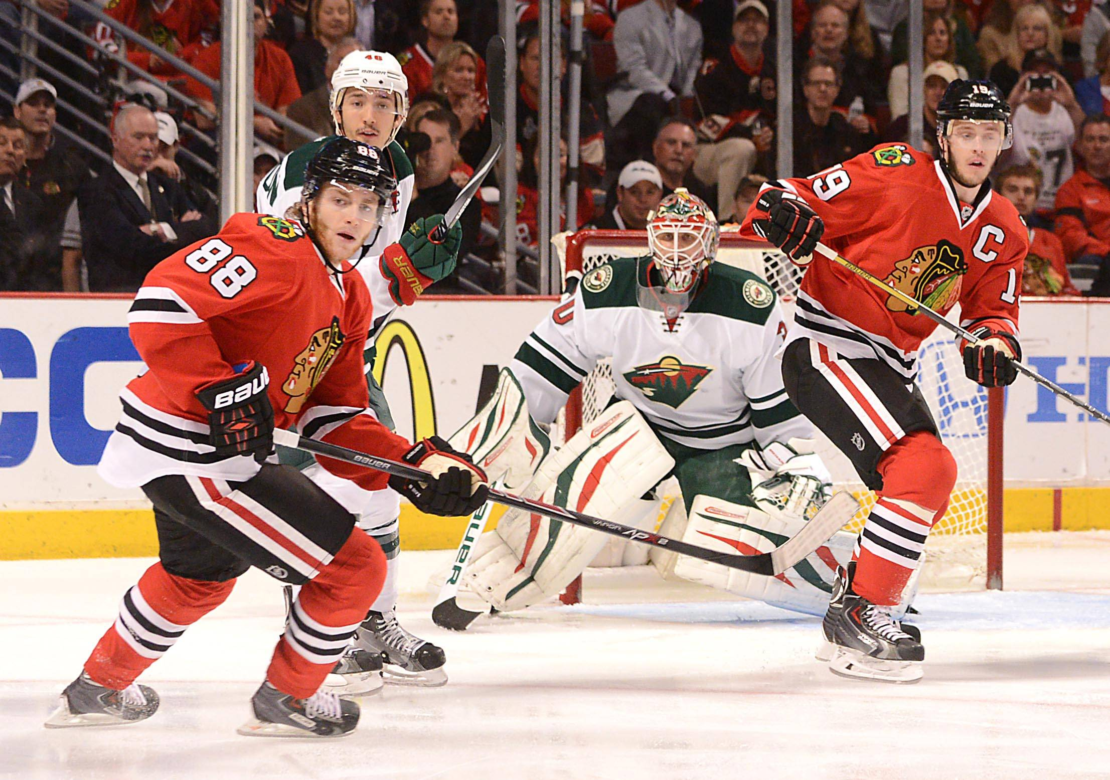 Patrick Kane (left), Jonathan Toews and the rest of the Blackhawks look to close out the Wild on the road in Tuesday night's Game 6.