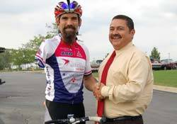 2012 Gold Medal Winning Paralympics cyclist Joe Berenyi, pictured with West Chicago Mayor Ruben Pineda, will make an appearance with the ABD Cycle Club and share his experience at Blooming Fest on May 17, 2014. Krista Coltrin