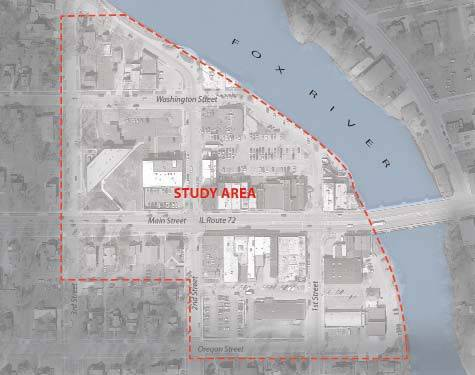The West Dundee downtown plan encompasses a six-block area, bisected by Route 72 and located along the western banks of the Fox River.