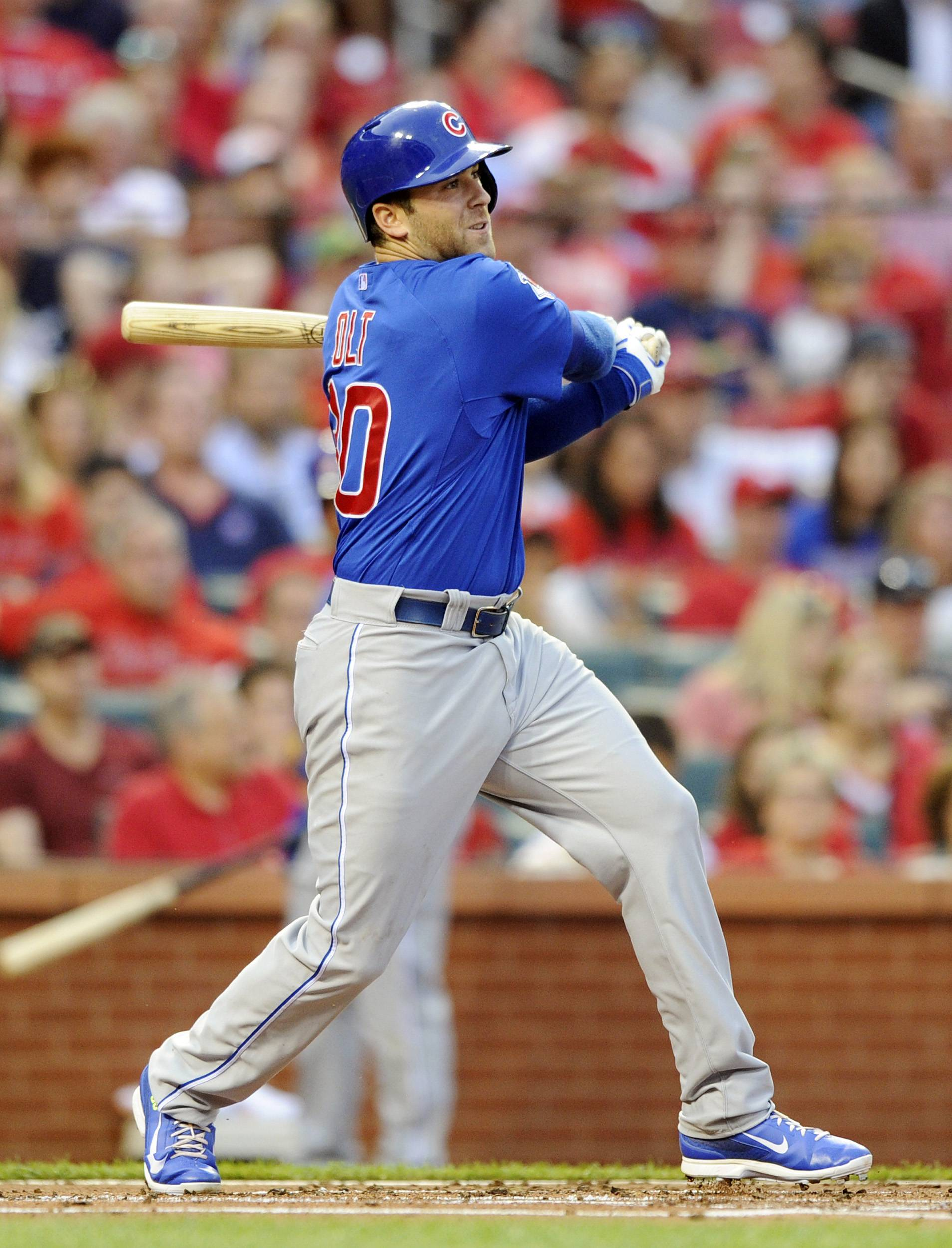 Mike Olt leads the Cubs with 8 home runs this season, but he was not in the starting lineup Tuesday against the Cardinals at St. Louis.