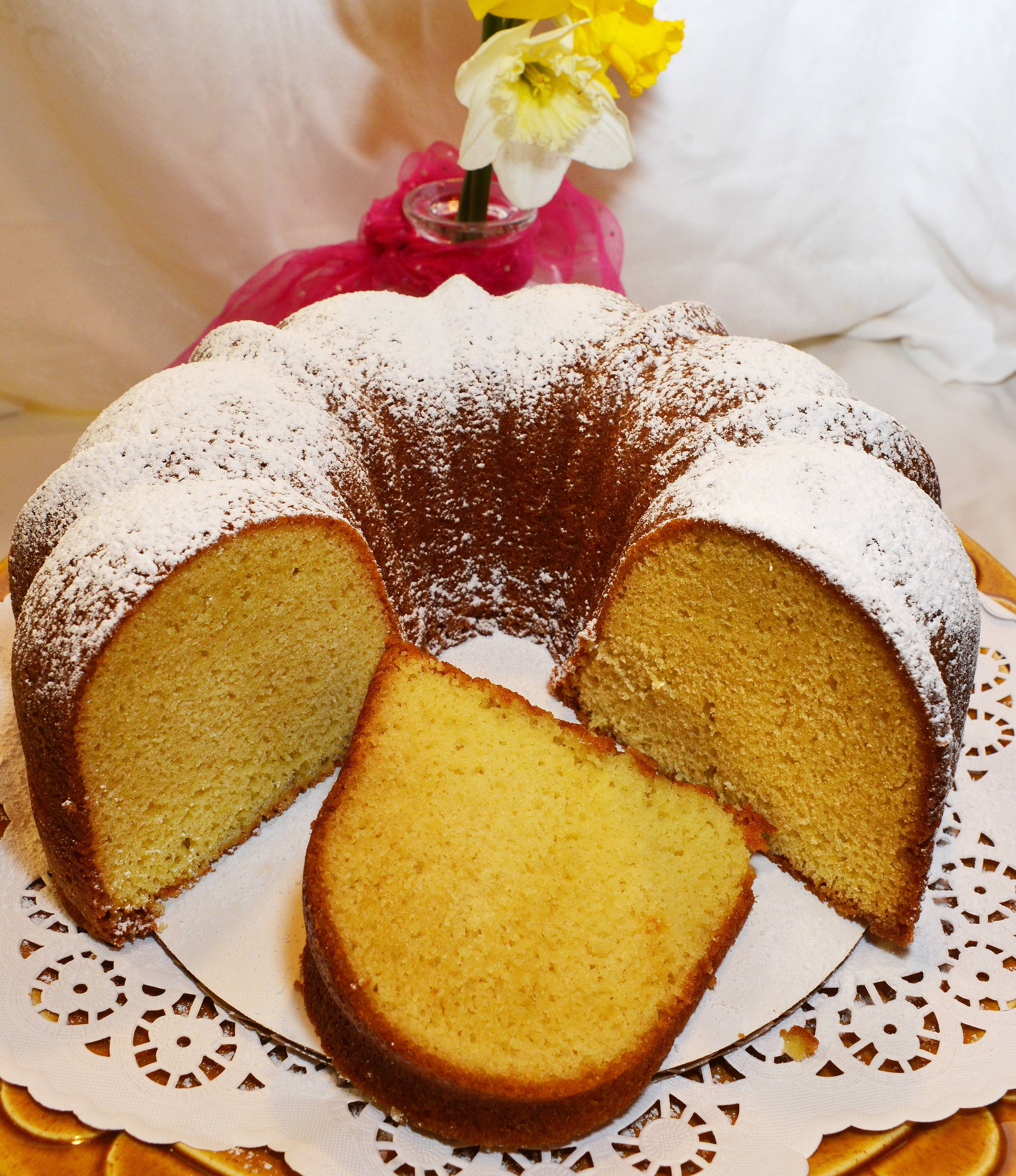Olive oil helps balance the moistness and sweetness of Annie Overboe's Springtime Poundcake.