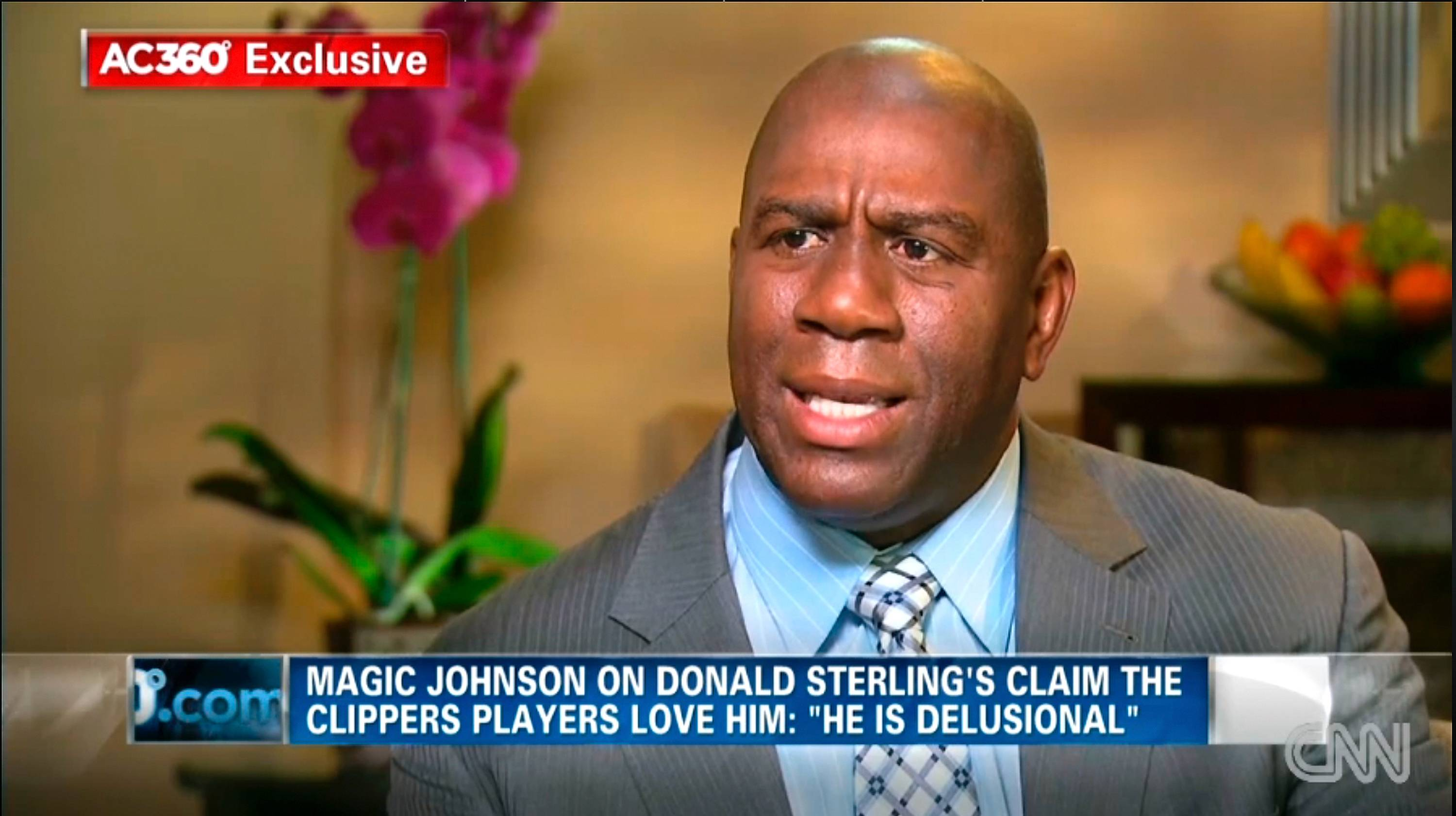 "In this image taken from video, Magic Johnson appears on CNN Tuesday to say Los Angeles Clippers owner Donald Sterling is ""living in the stone ages"" in his attitudes about minorities."