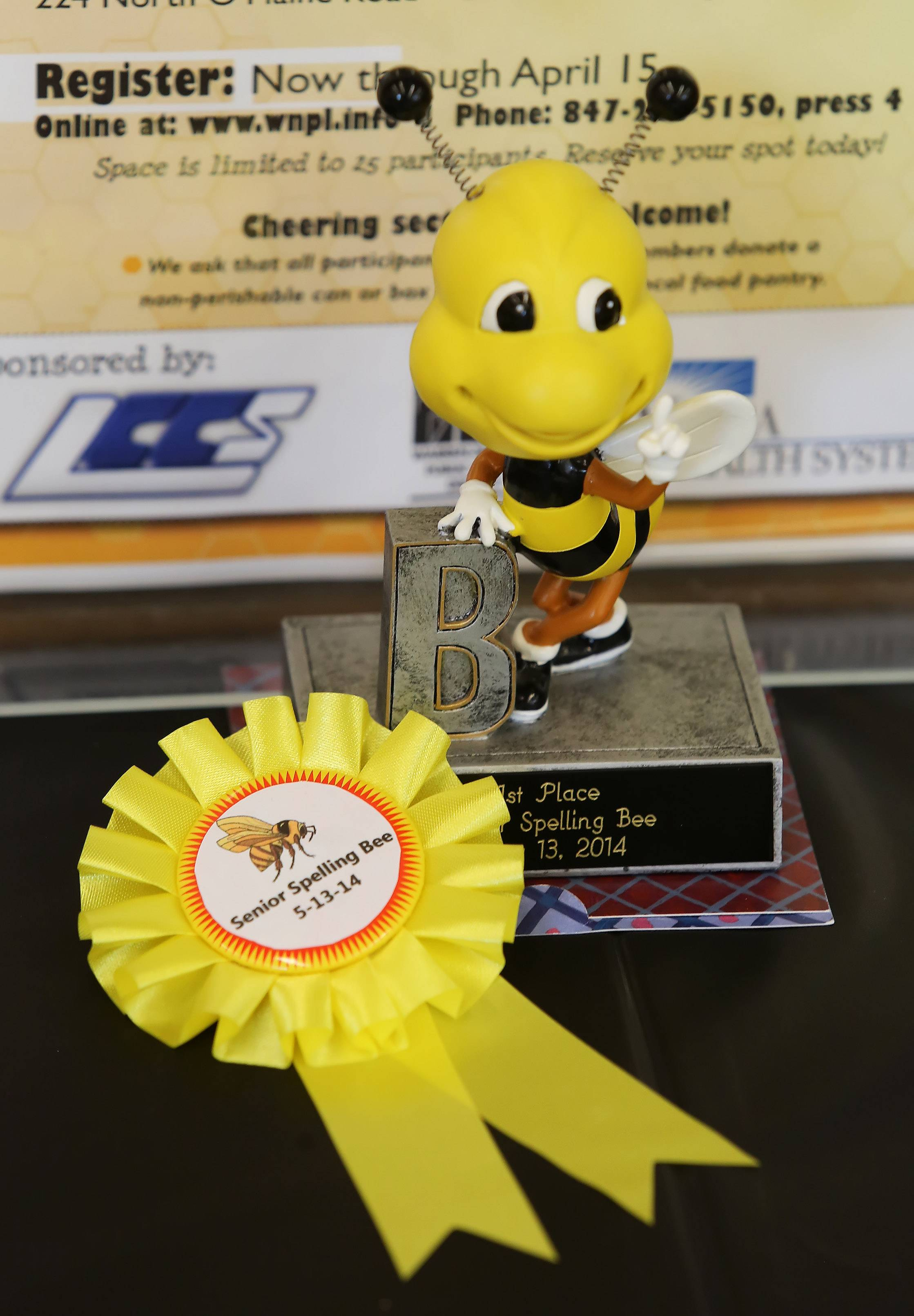 Awards given out during the Senior Spelling Bee Tuesday at Warren-Newport Public Library. Eleven contestants participated in the bee sponsored by the library, Vista Health System and the Lake County Council for Seniors.