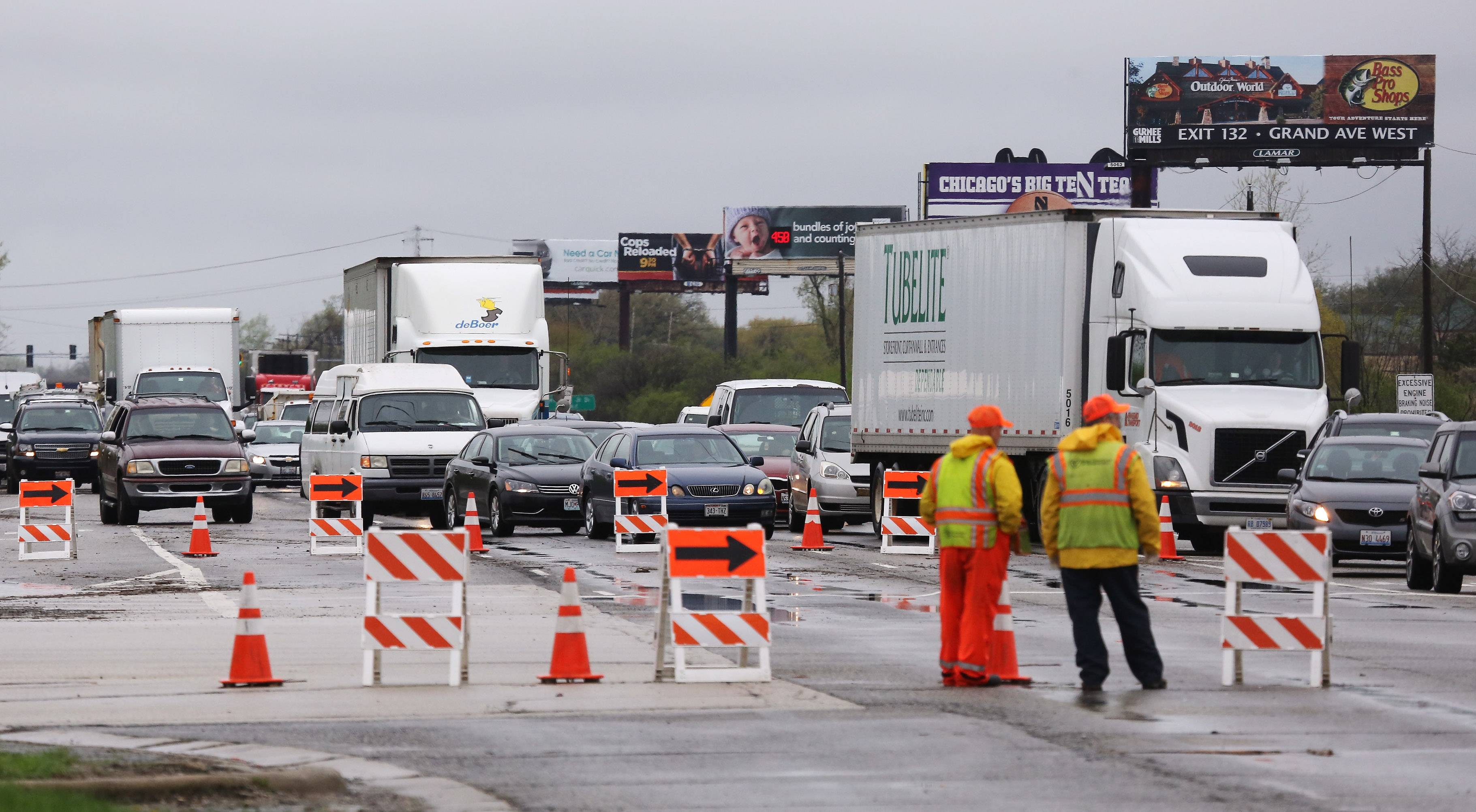 Traffic was congested on Route 41 at Route 137 in Lake Bluff after Route 41 was closed Tuesday morning due to flooding. Overnight storms caused area flooding and traffic problems in Lake County.
