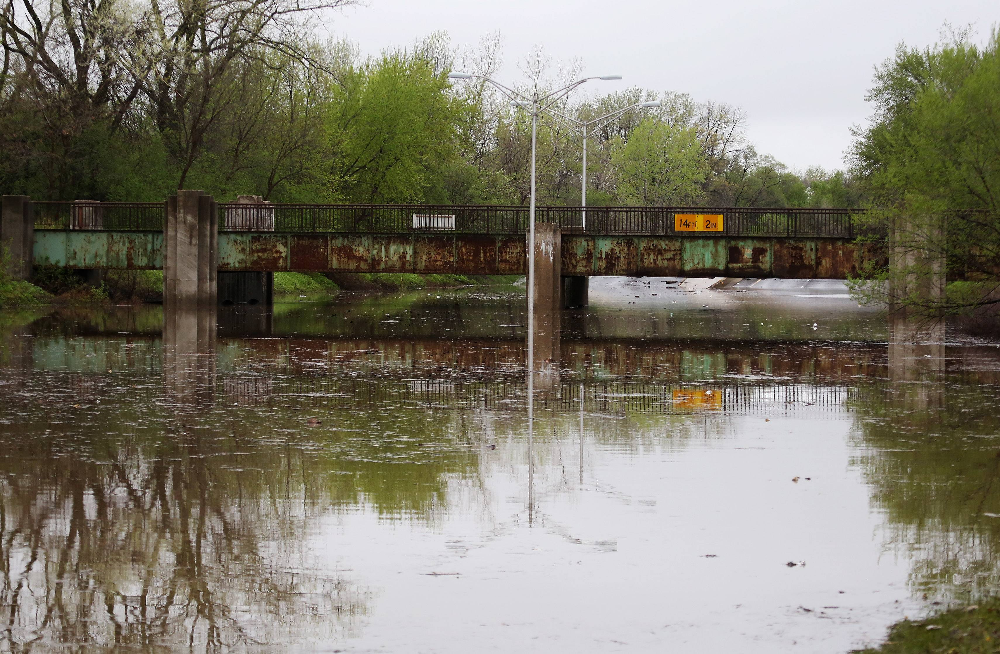 The train underpass on Route 41 north of Route 176 in Lake Bluff was flooded Tuesday. Overnight storms caused area flooding and traffic problems in Lake County.