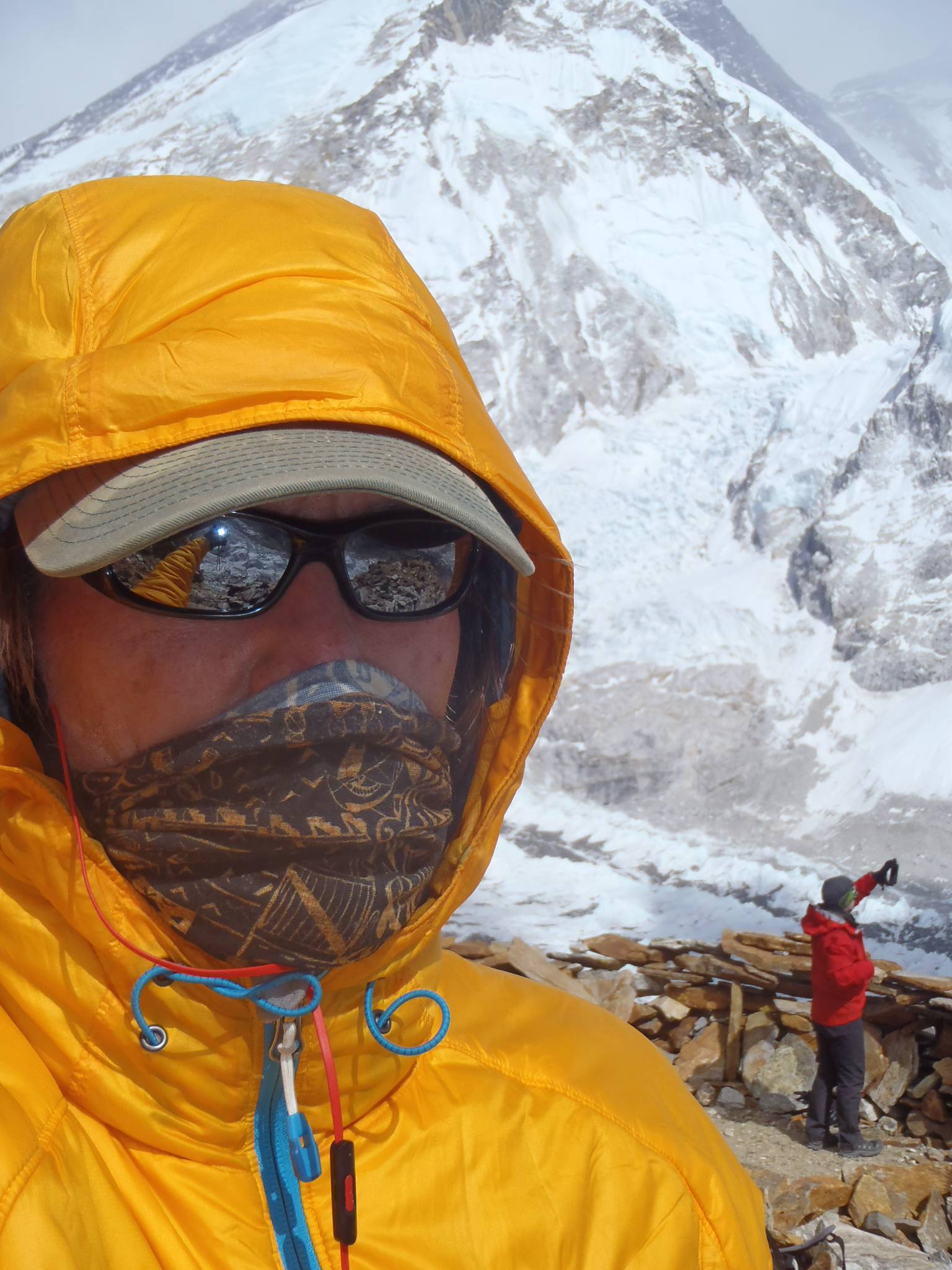 Training in base camp at 17,500 feet before his planned ascent of Everest, climber Joel Schauer of Hawthorn Woods snaps a quick selfie.
