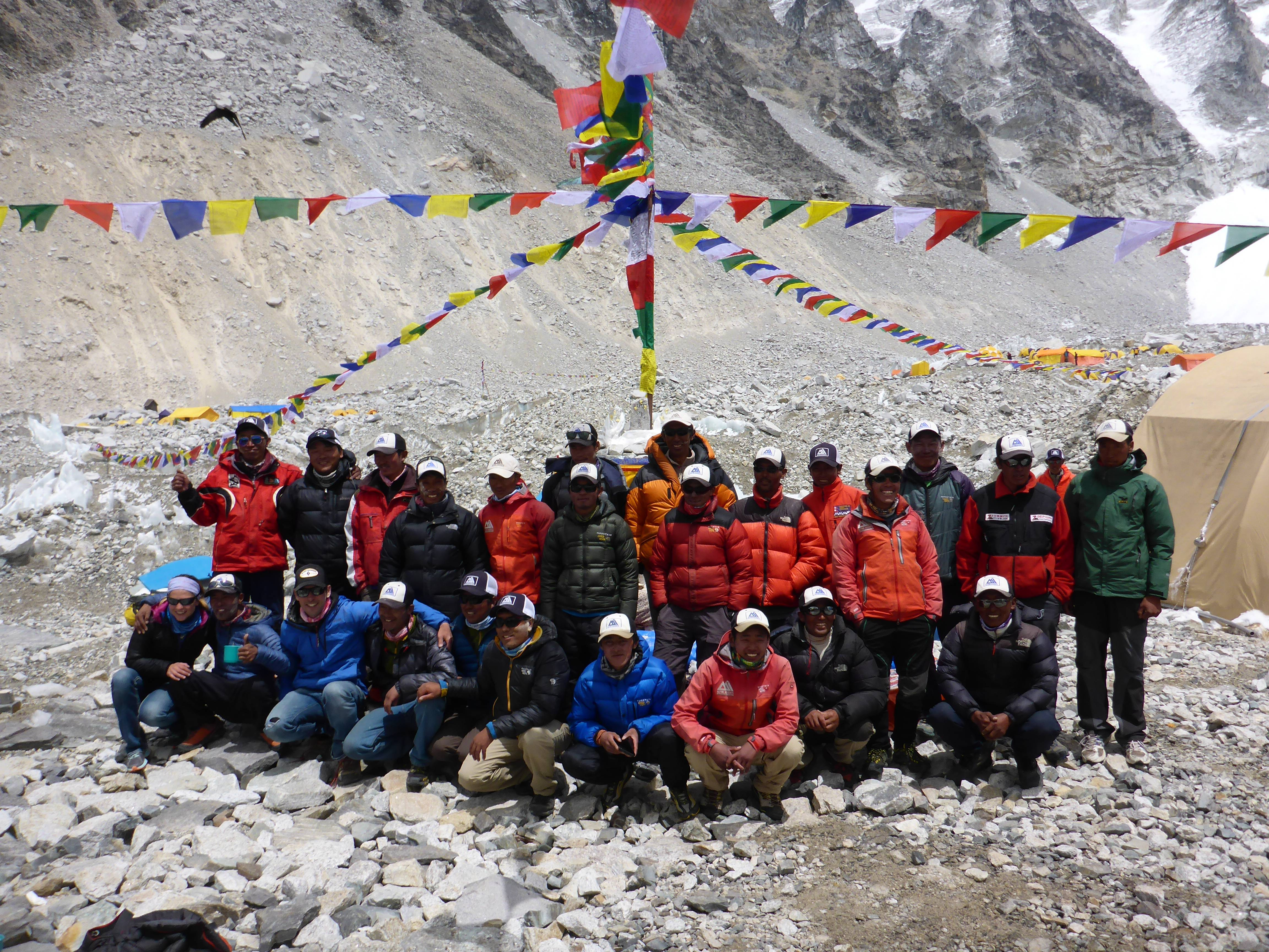 Taking this photo of the guides and Sherpas hired to lead his climbing team to the top of Mount Everest, Joel Schauer of Hawthorn Woods says five of the Sherpas were killed in an avalanche the next morning.