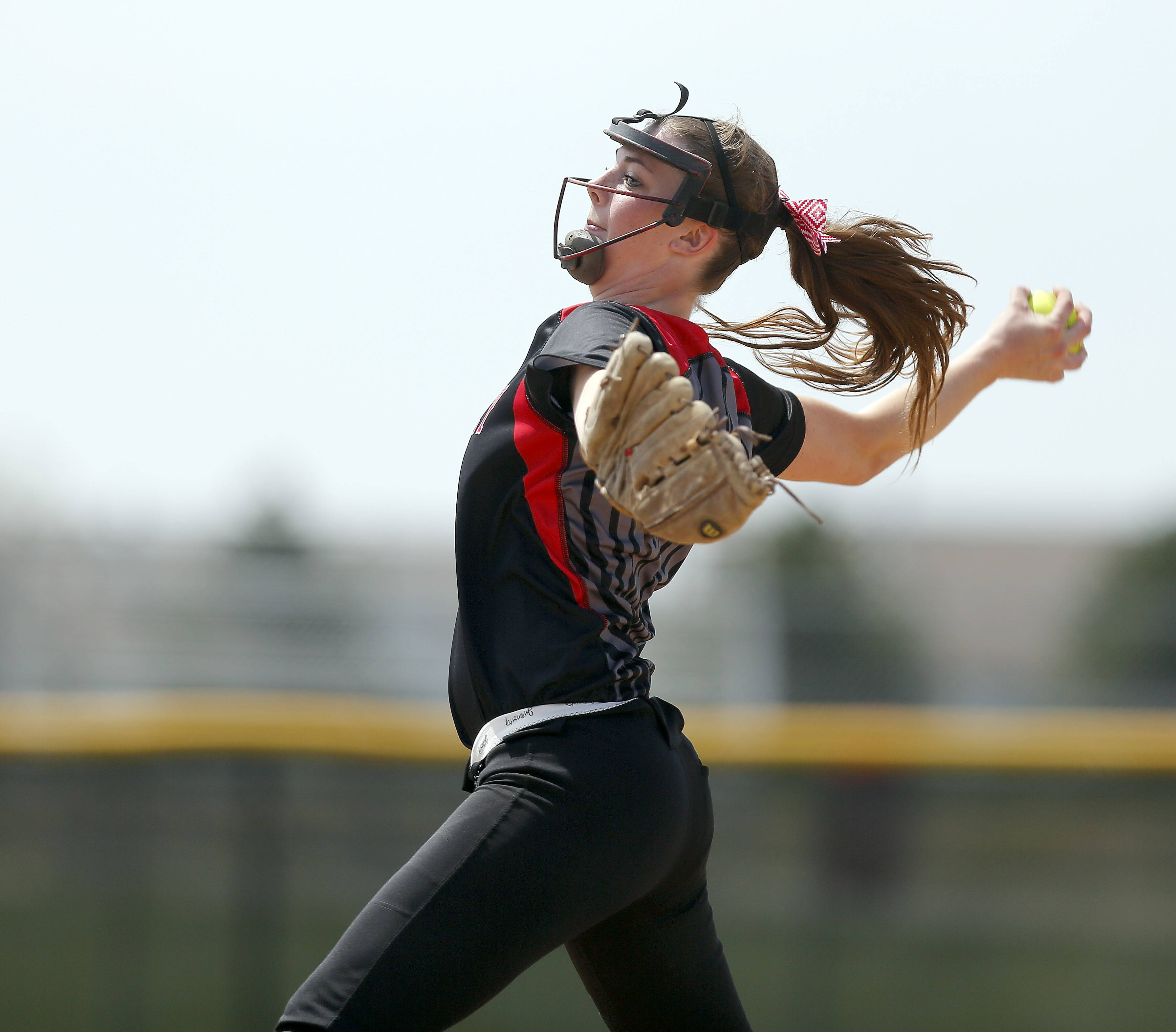 Huntley pitcher Haley Spannraft winds up during her delivery against Burlington Central at Huntley softball Saturday.