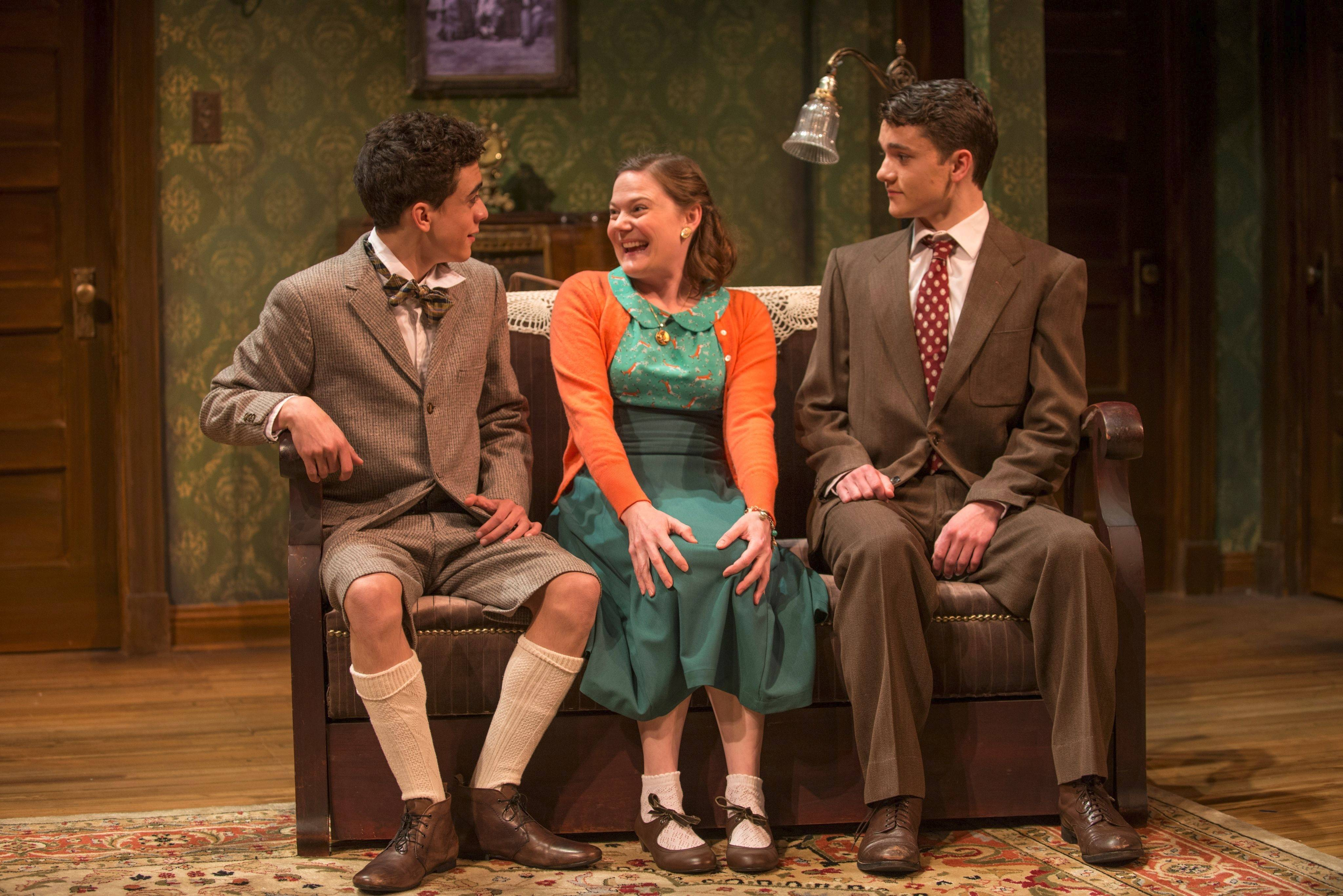 "With nephews Arty (Sebastian W. Weigman), left, and Jay (Alistair Sewell), Aunt Bella (Linsey Page Morton) finds the affection she craves in Northlight Theatre's warmhearted revival of Neil Simon's ""Lost in Yonkers."""