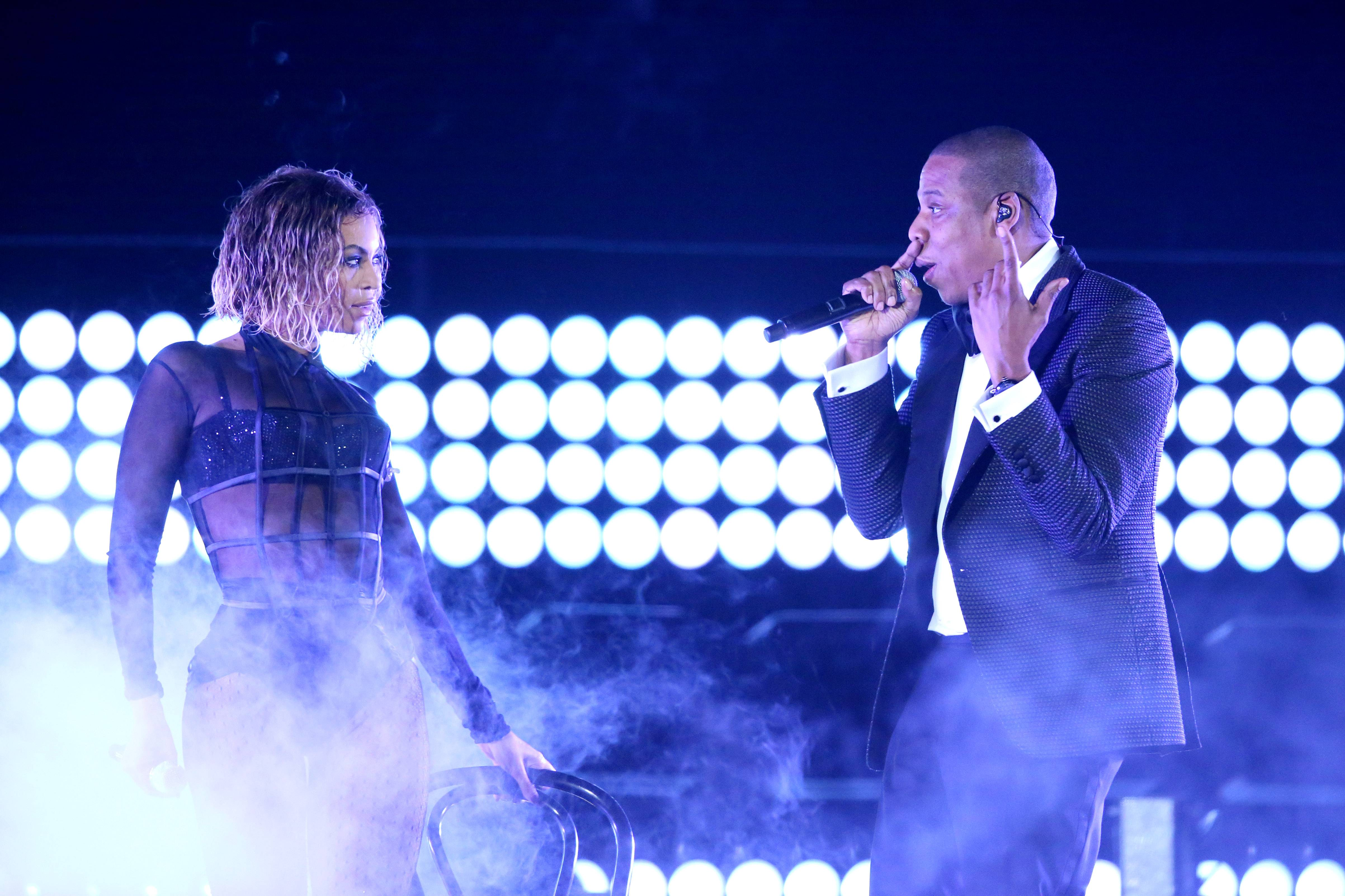 "Beyoncé, left, and Jay Z have been nominated for BET video of the year with the song ""Drunk in Love."""