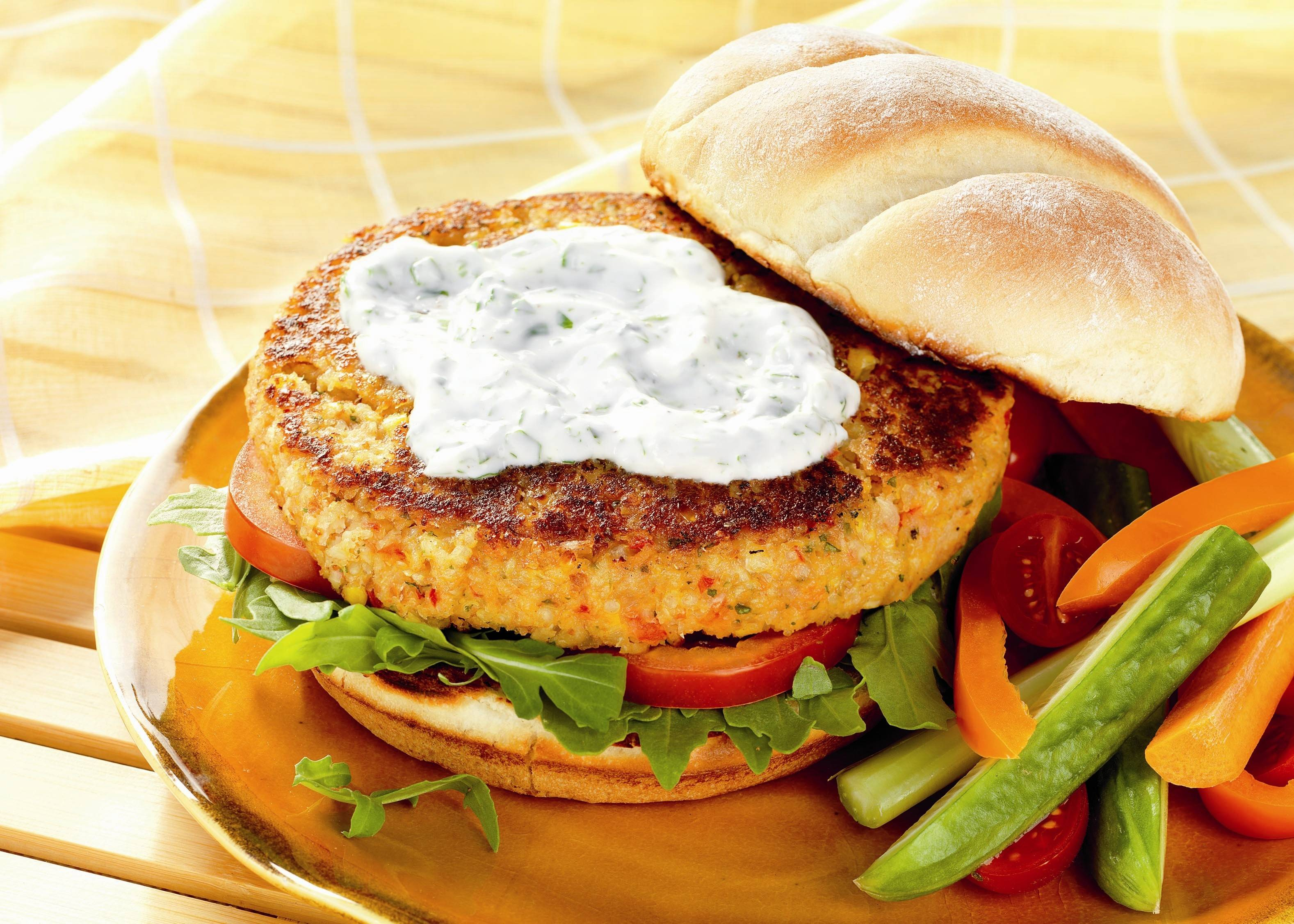 Quinoa and Pinto Bean Burgers with Yogurt Sauce
