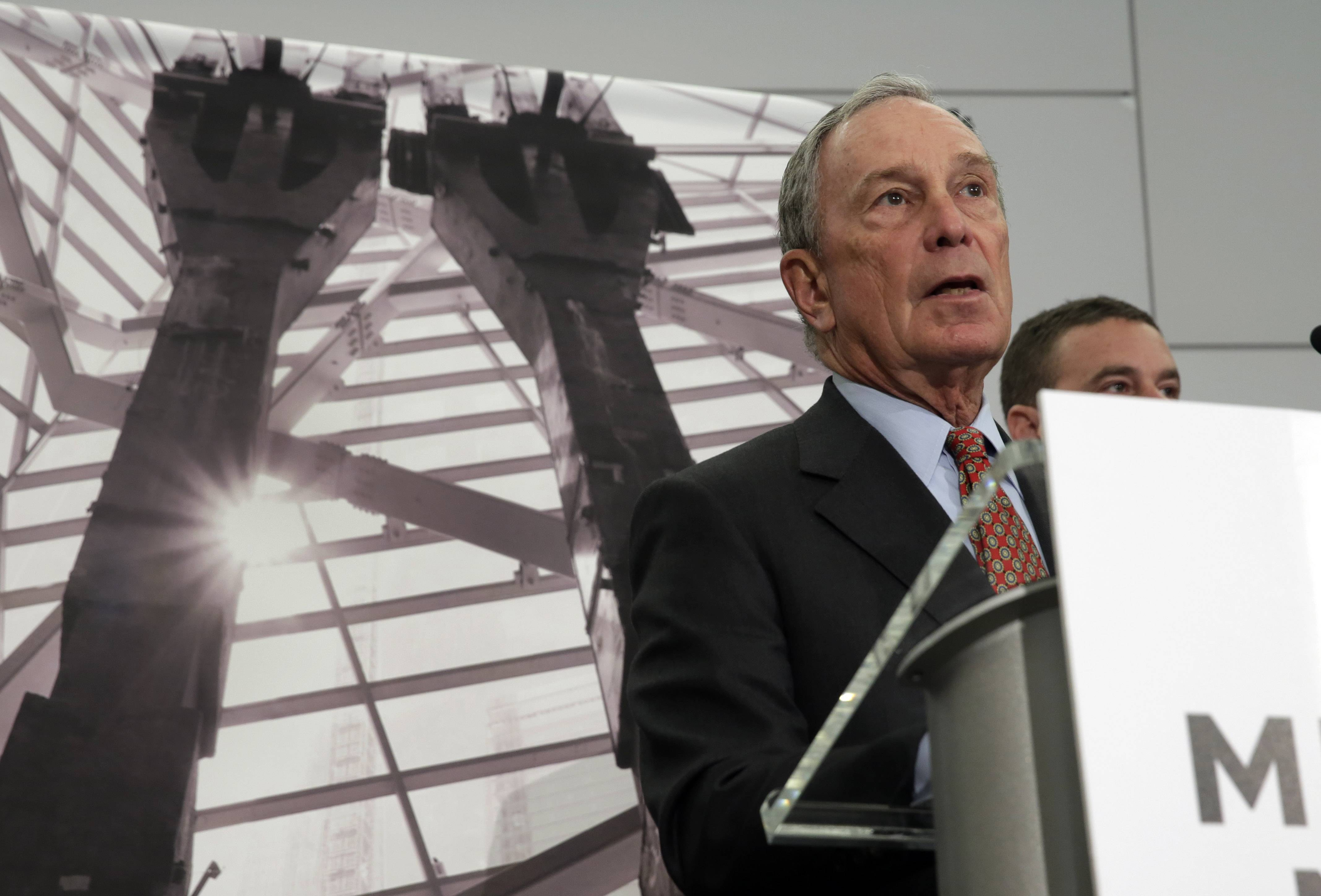 Former New York Mayor Michael Bloomberg, chairman of the Sept. 11 museum, addresses a news conference in the venue, in New York, Wednesday, May 14, 2014. Leaders of the soon-to-open Sept. 11 museum are portraying it as a monument to unity and resilience.