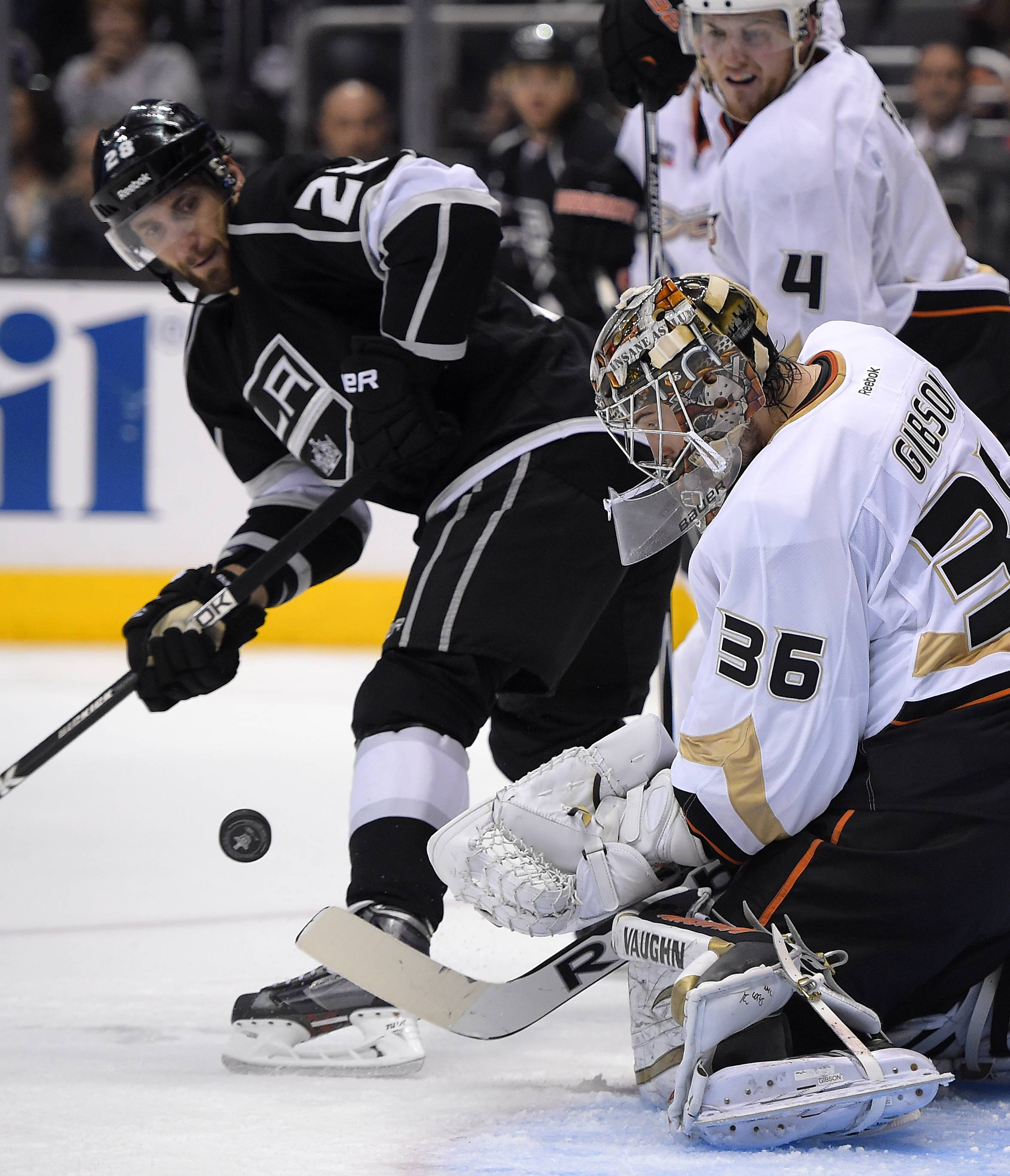 Anaheim Ducks goalie John Gibson has stopped 67 of 70 shots in his first two NHL playoff starts. The Ducks lead the Los Angeles Kings 3-2 in the best-of-seven series.