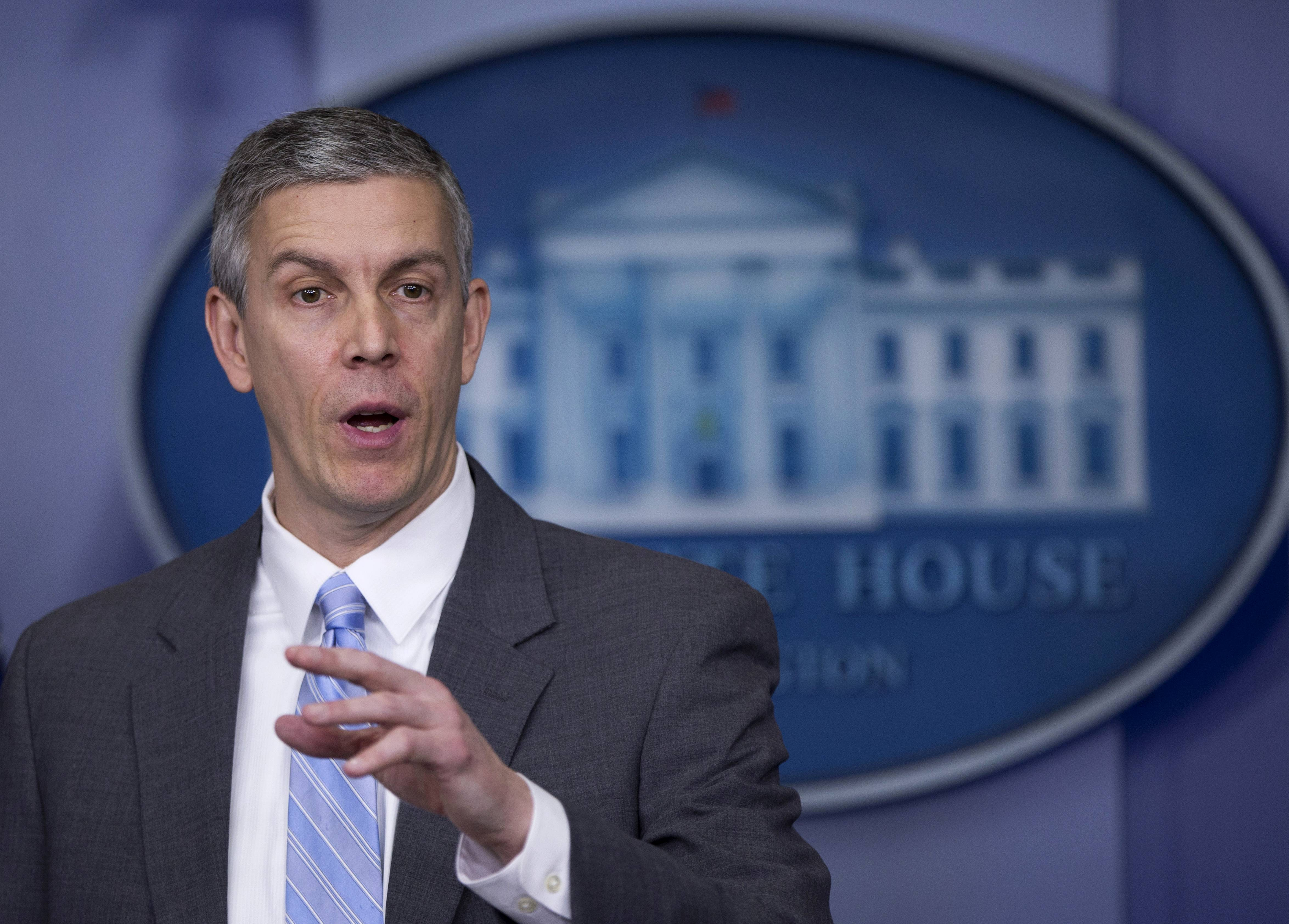 Education Secretary Arne Duncan speaking in the Brady Press Briefing Room of the White House in Washington. Student lender Sallie Mae has reached a $60 million settlement with the federal government to resolve allegations it charged military service members excessive interest rates on their student loans.
