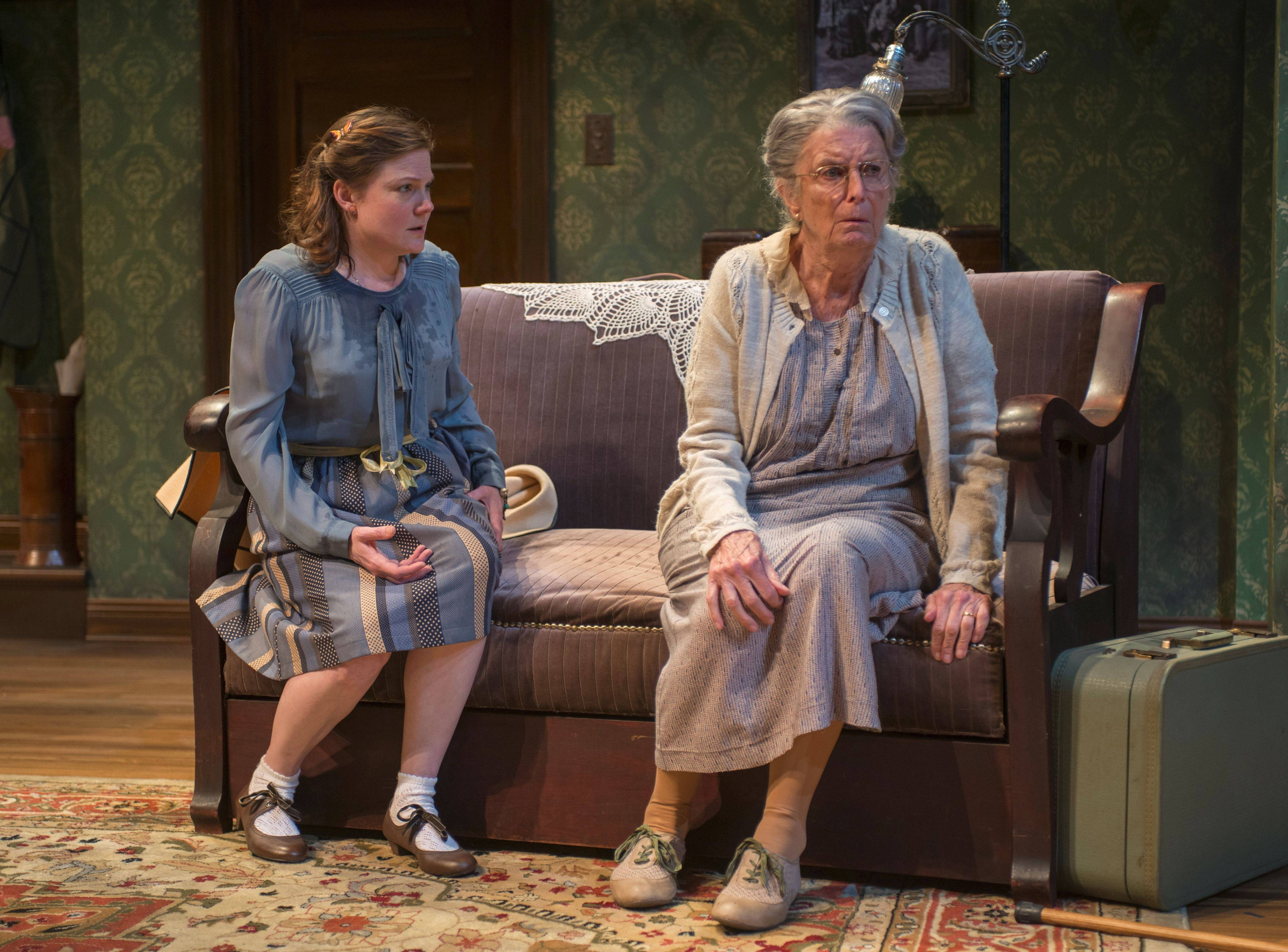 "At long last, childlike Bella (Linsey Page Morton), left, and her iron-willed mother (Ann Whitney) come to an understanding in Neil Simon's ""Lost in Yonkers."""