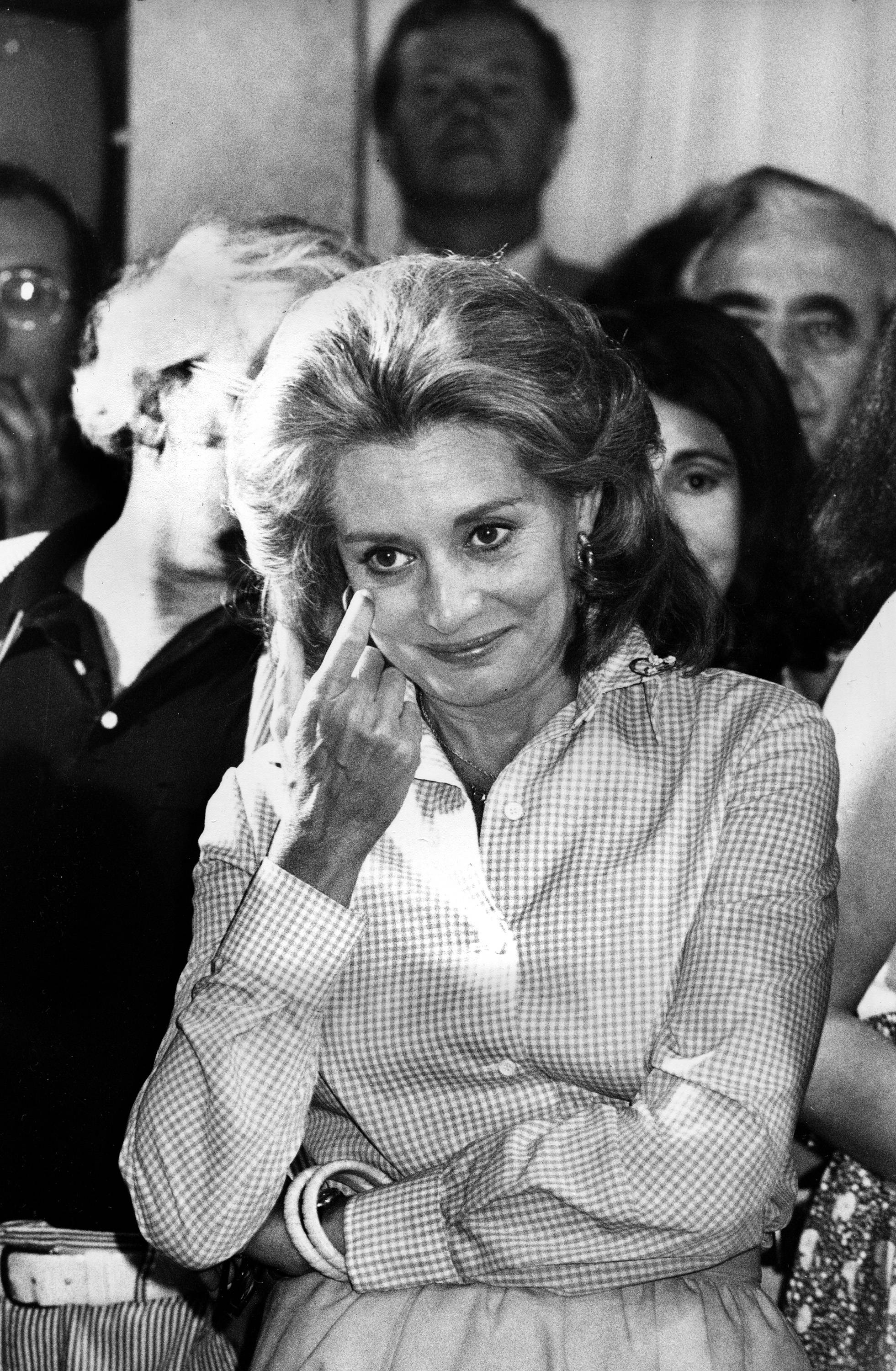 "In 1975 television newswoman Barbara Walters reacts as she addresses staff members from the NBC ""Today"" show during a farewell party in the studios in New York after her final live appearance on the show. Walters left to join ABC as co-host and anchorwoman of the rival networks' evening news program."