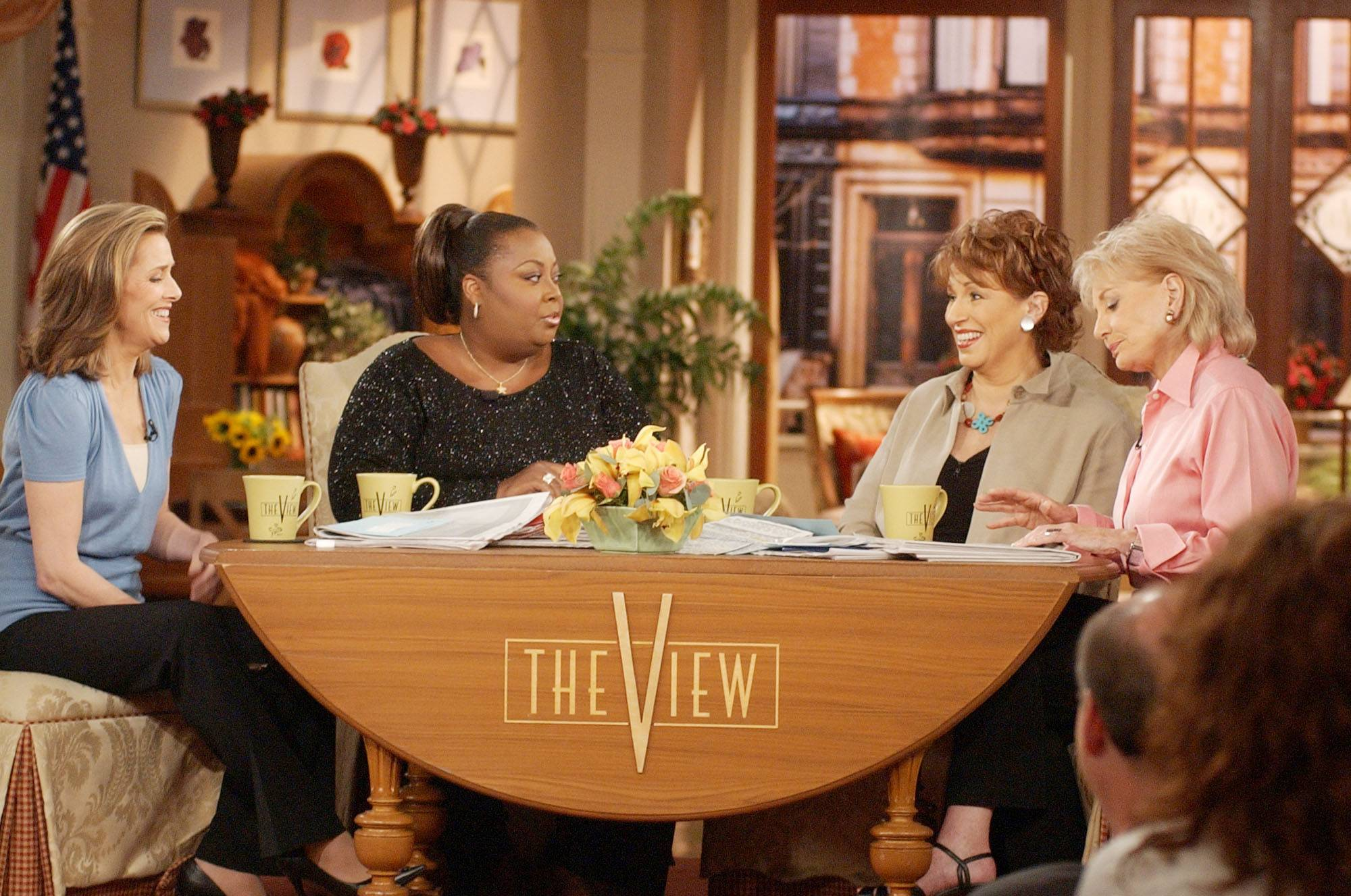 "Meredith Vieira, left, Star Jones, Joy Behar and Barbara Walters discuss important topics of the day in 2003 on ABC's ""The View"" in New York."