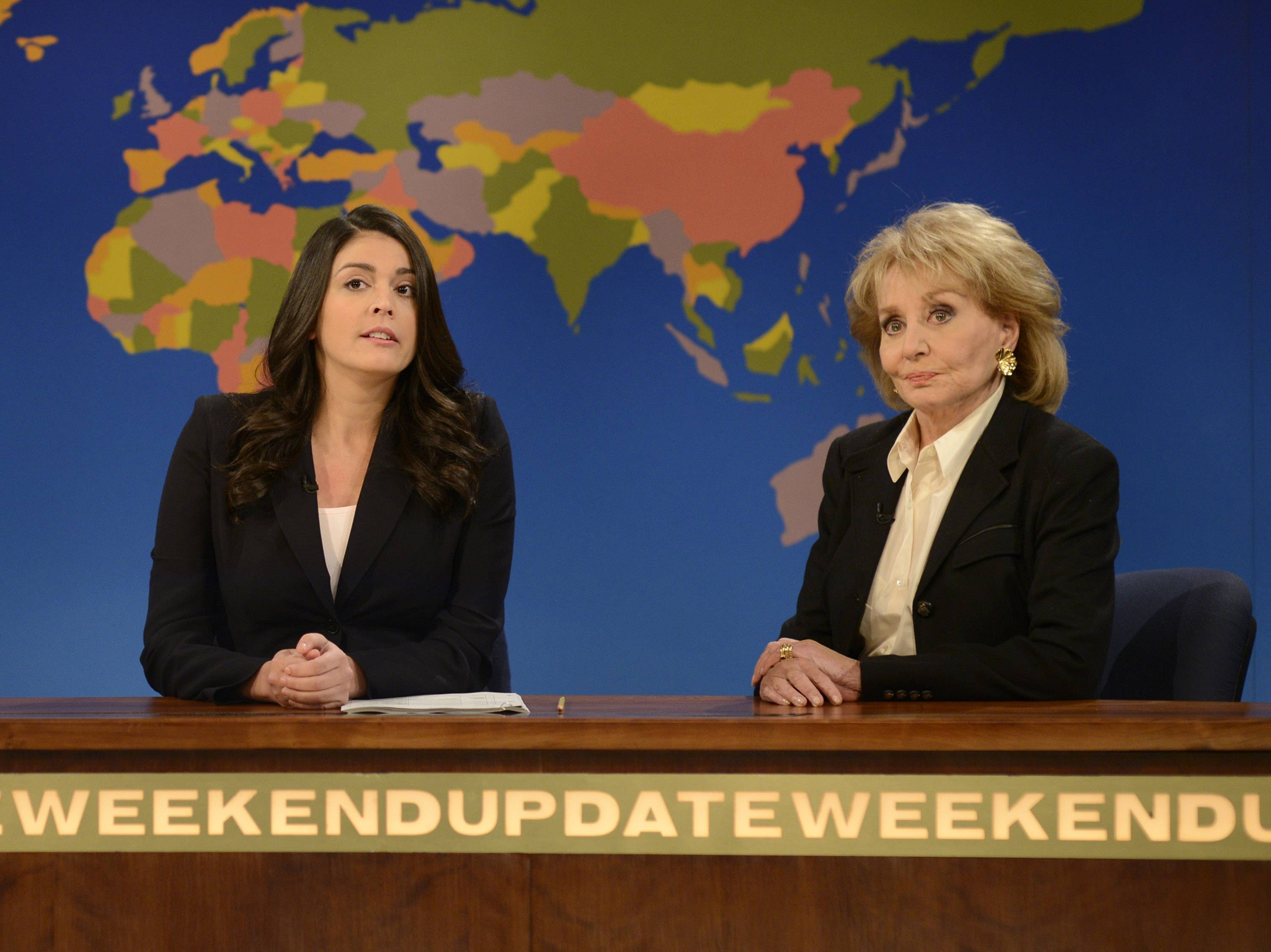 "Cecily Strong, left, appears with Barbara Walters on the Weekend Update segment during last Saturday's episode of ""Saturday Night Live"" in New York. Walters has often been parodied on the weekly sketch comedy series."