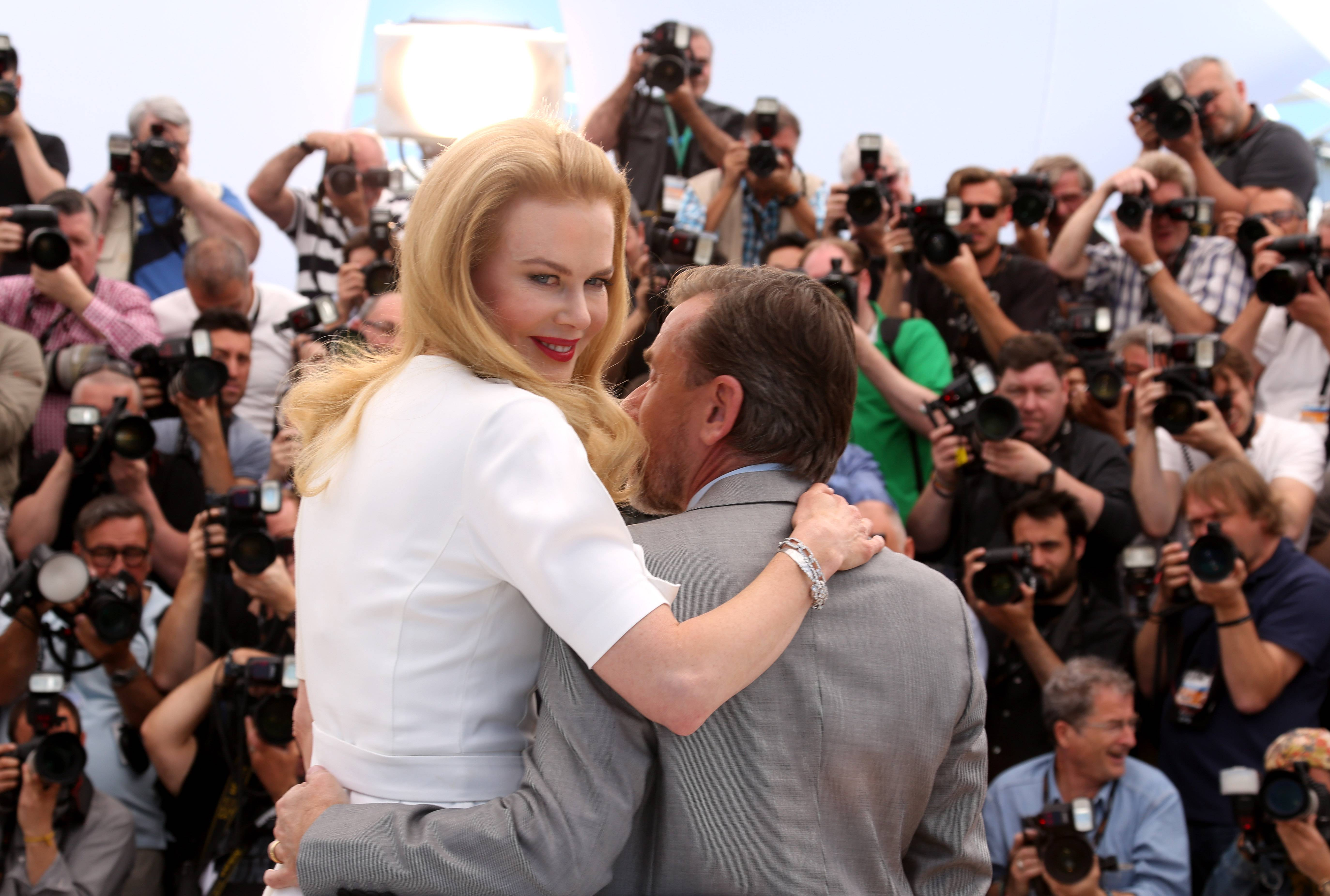 "Actress Nicole Kidman and actor Tim Roth pose for photographers during a photo call Wednesday for the film ""Grace of Monaco"" at the 67th Cannes Film Festival in southern France."