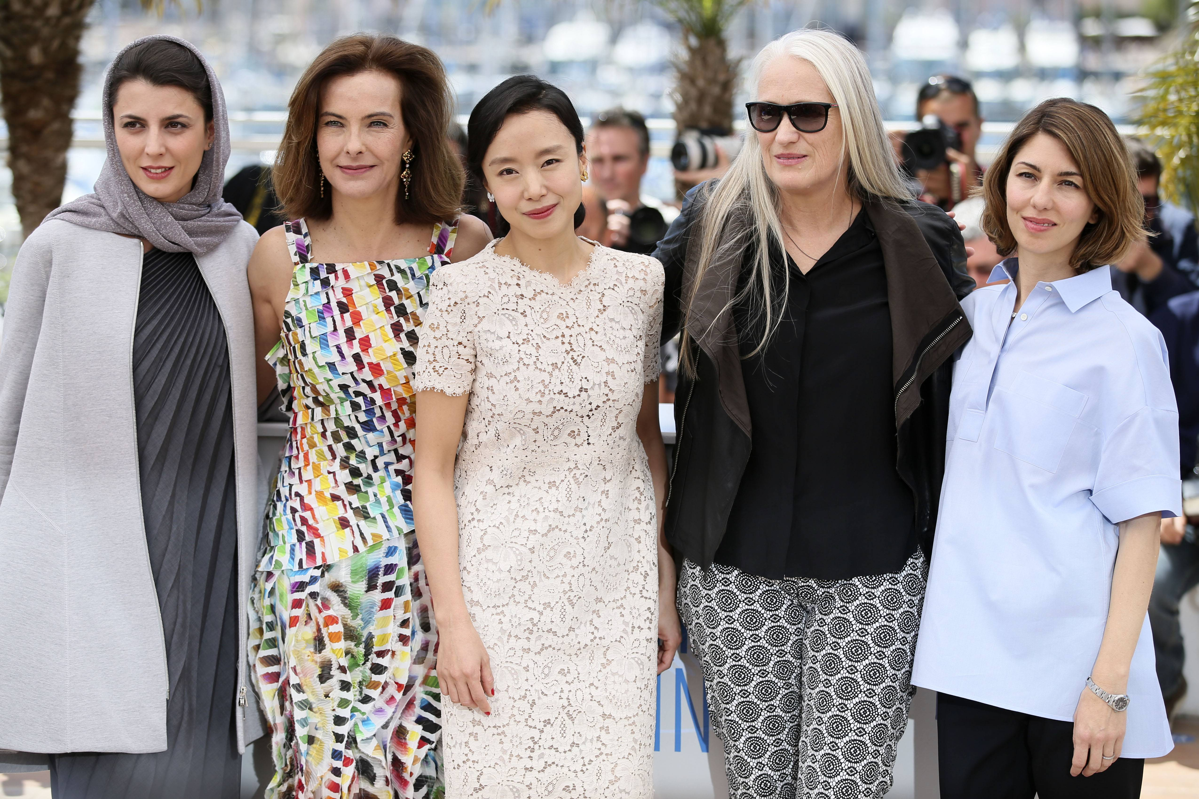 President of the jury Jane Campion, second left, poses with members of the jury from left, Leila Hatami, Carole Bouquet, Jeon Do-yeon and Sofia Coppola during a photo call Wednesday for members of the jury at the 67th Cannes Film Festival in southern France.