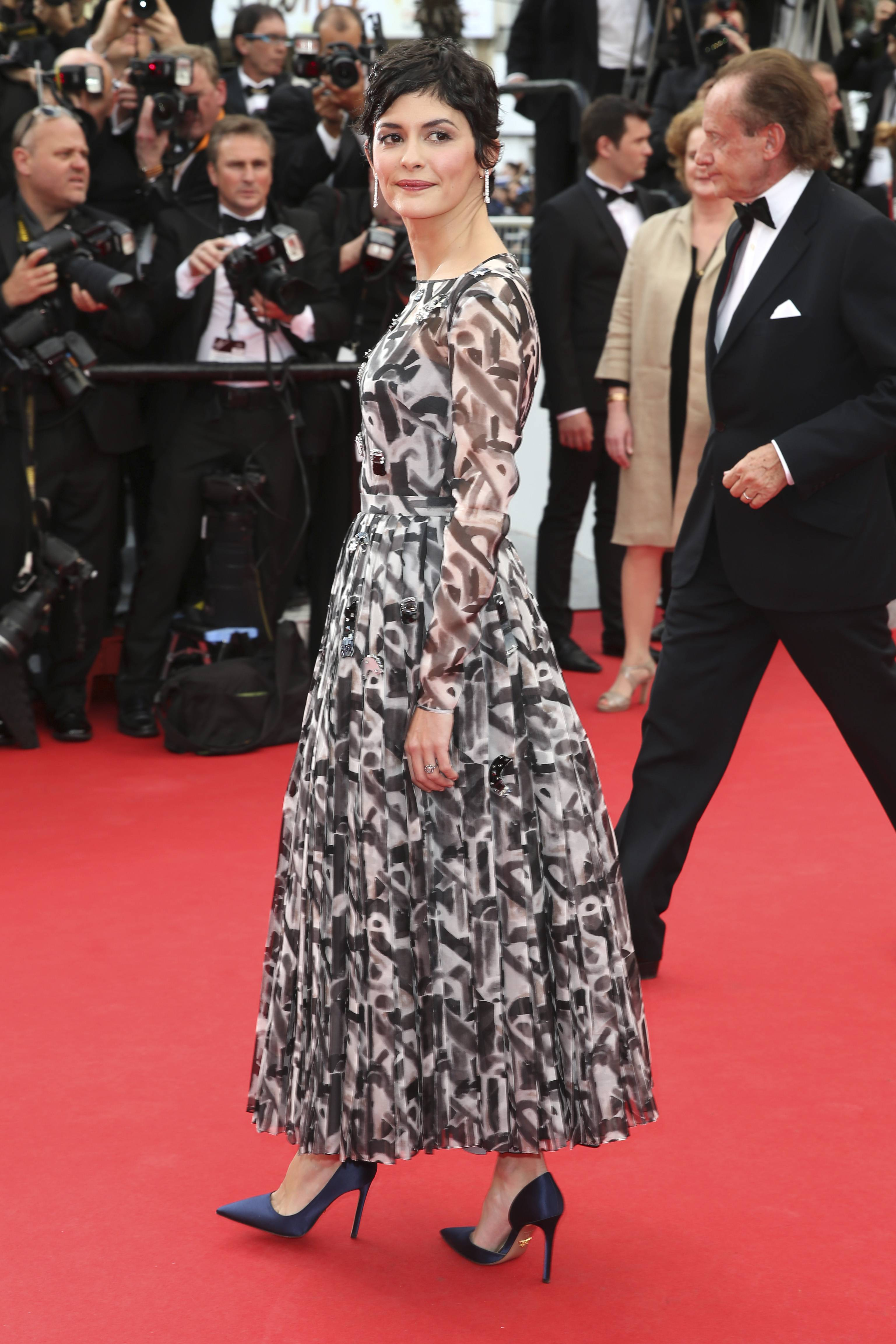 "French actress Audrey Tatou arrives Wednesday for the opening ceremony and the screening of ""Grace of Monaco"" at the 67th Cannes Film Festival in southern France."