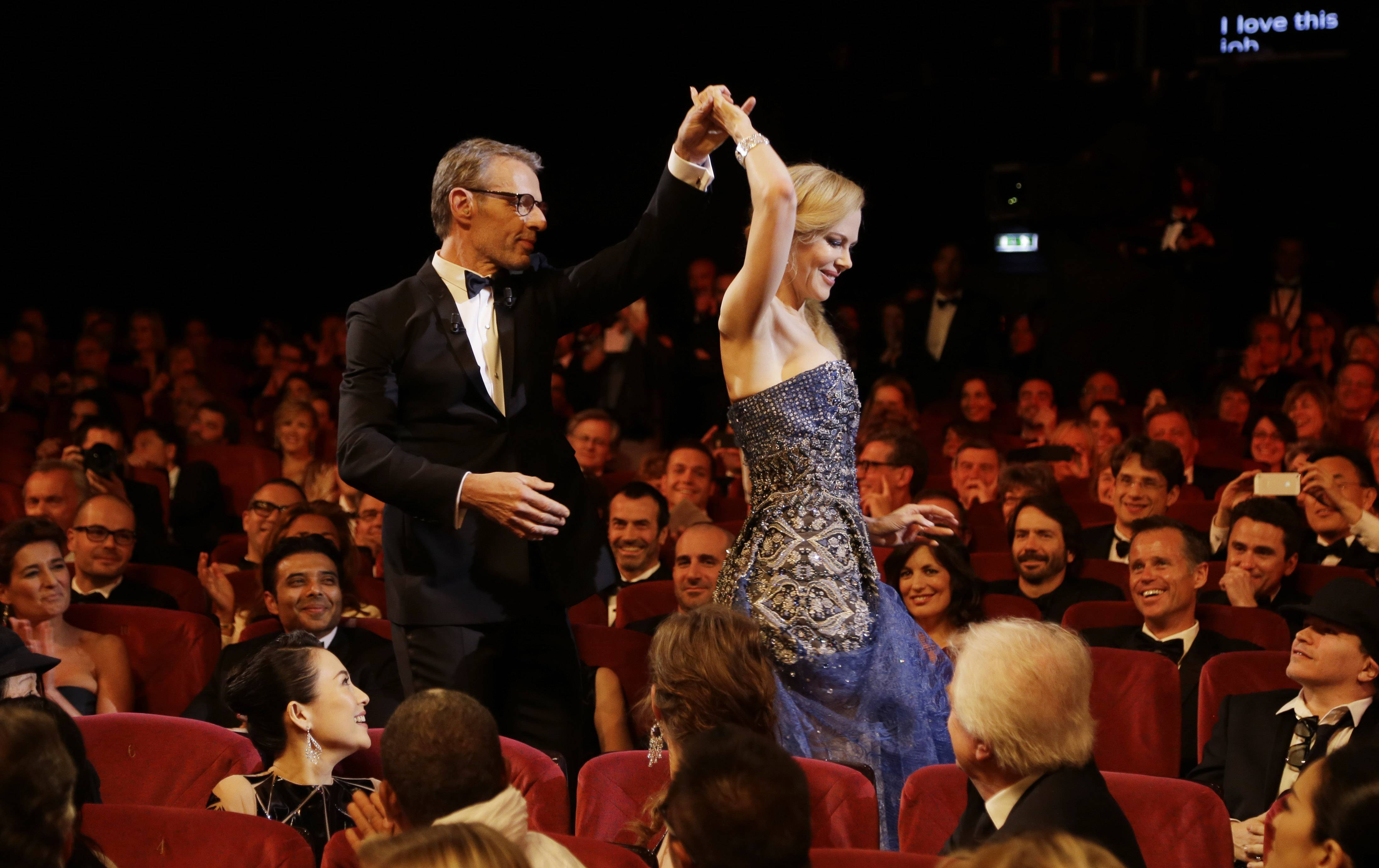 "Master of Ceremonies Lambert Wilson and actress Nicole Kidman during the opening ceremony Wednesday ahead of the screening of ""Grace Of Monaco"" at the 67th Cannes Film Festival in southern France."