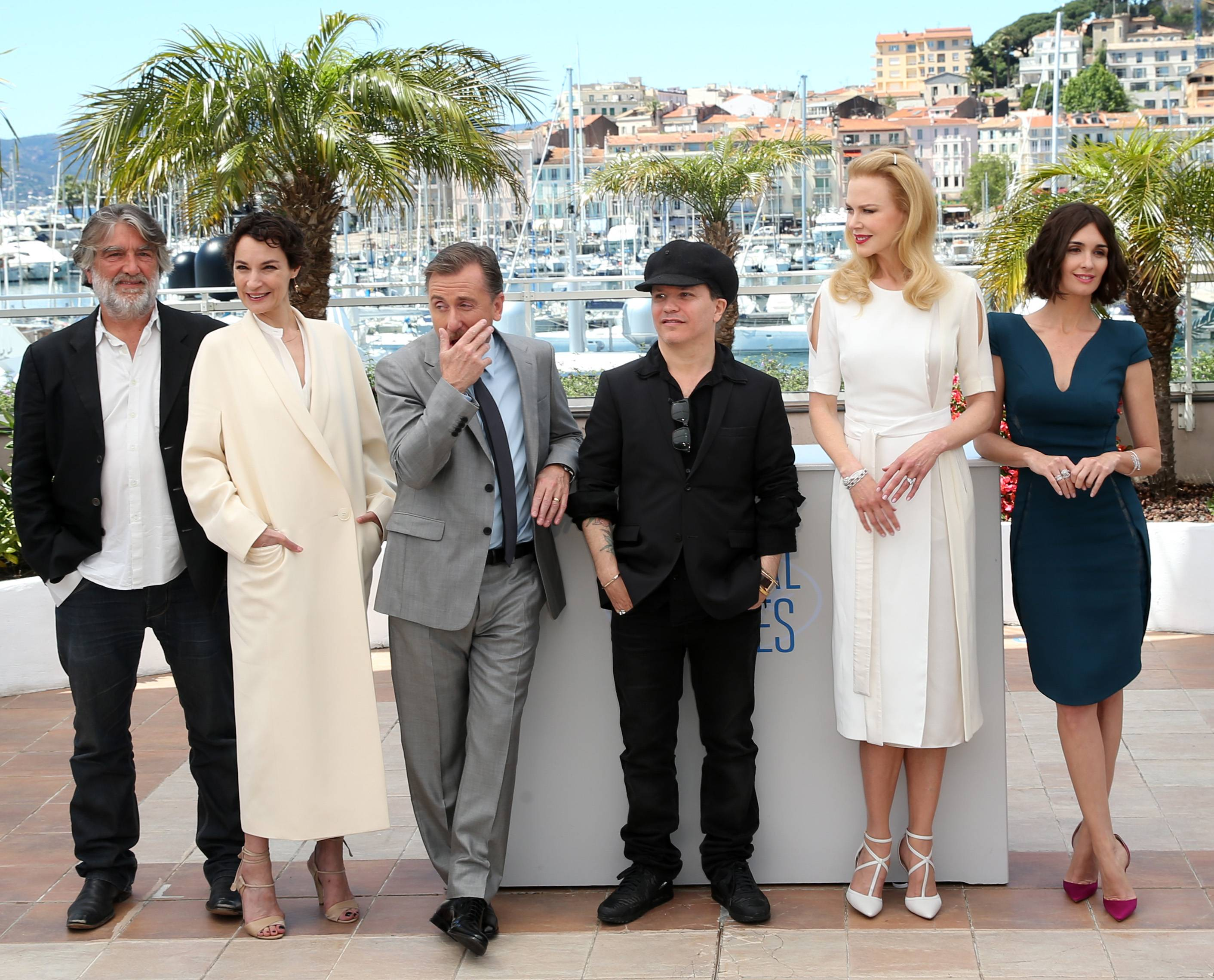 "From left, producer Pierre Ange Le Pogam, actress Jeanne Balibar, actor Tim Roth, director Olivier Dahan, actress Nicole Kidman, actress Paz Vega pose during a photo call Wednesday for the film ""Grace of Monaco"" atthe 67th Cannes Film Festival in southern France."