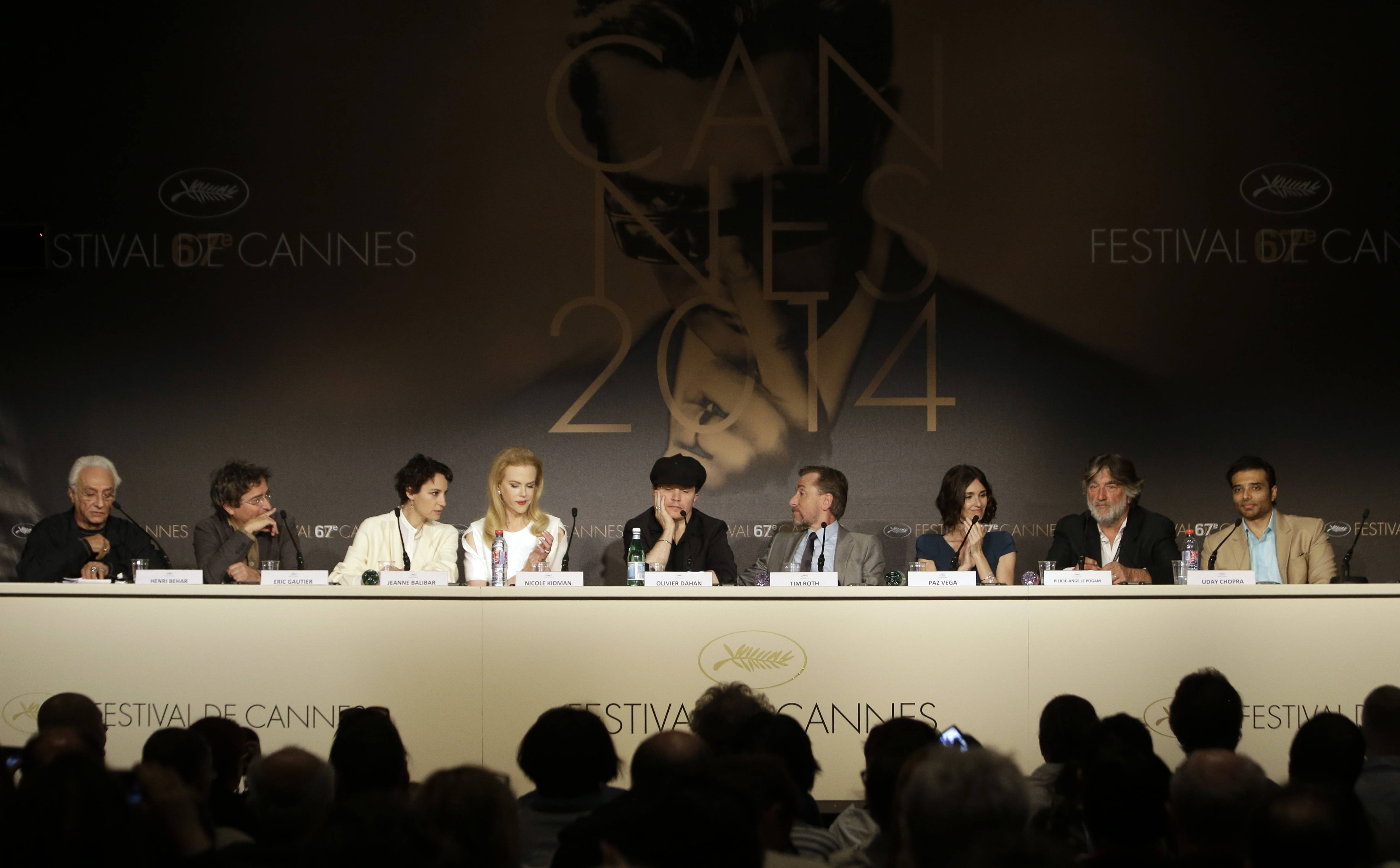 "From second left, cinematographer Eric Gautier, actors Jeanne Balibar, Nicole Kidman, director Olivier Dahan, actors Tim Roth, Paz Vega, producer Pierre Ange Le Pogam and producer Arash Amel during a press conference Wednesday for ""Grace of Monaco"" at the 67th Cannes Film Festival in southern France."