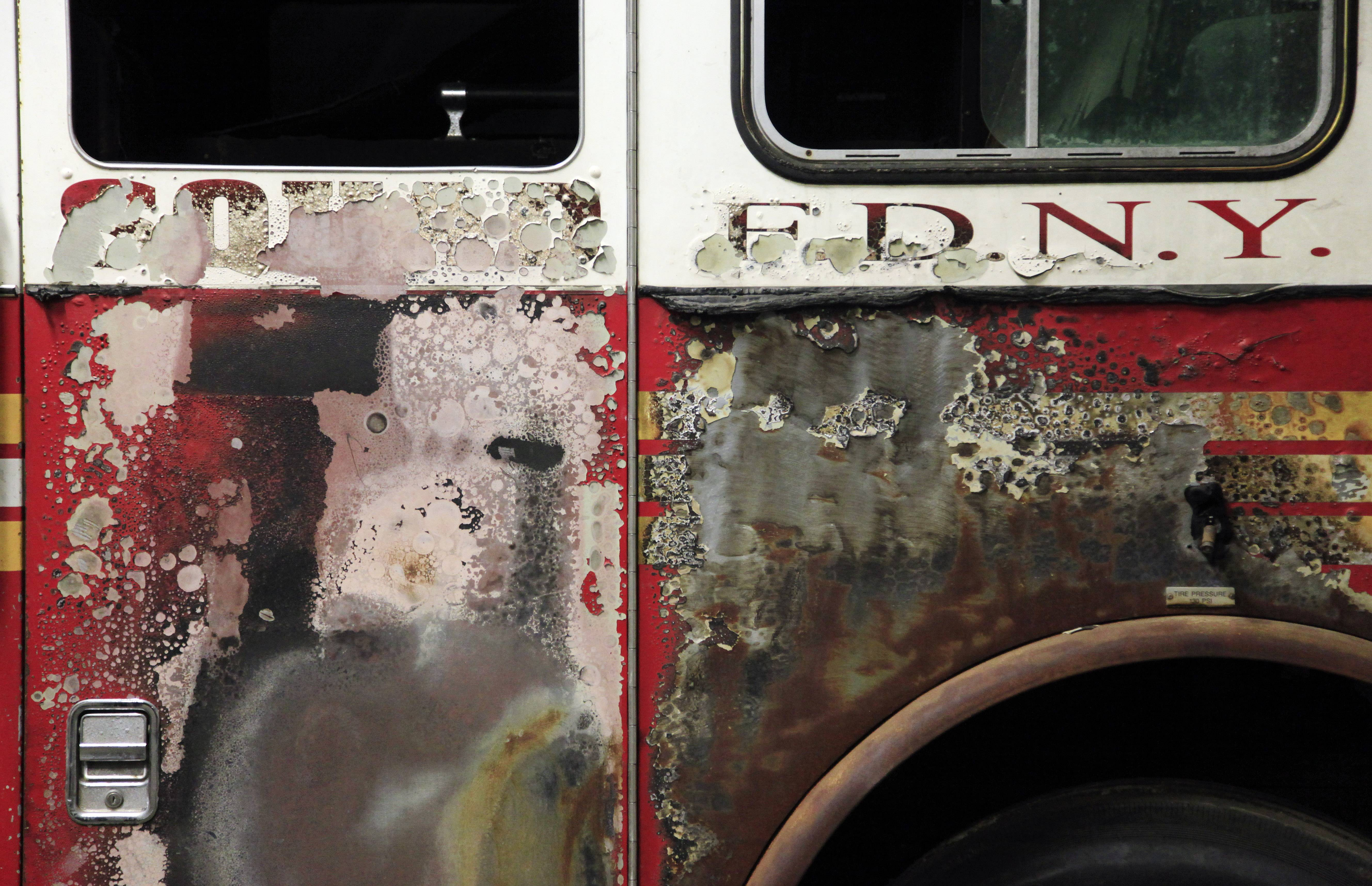 The fire-scorched cab of a New York City Fire Department truck, damaged in the attacks of Sept. 11, 2001, will be on display in the 9/11 museum that will be dedicated Thursday, May 15, 2014, in a ceremony attended by President Barack Obama. It will open to the public May 21.
