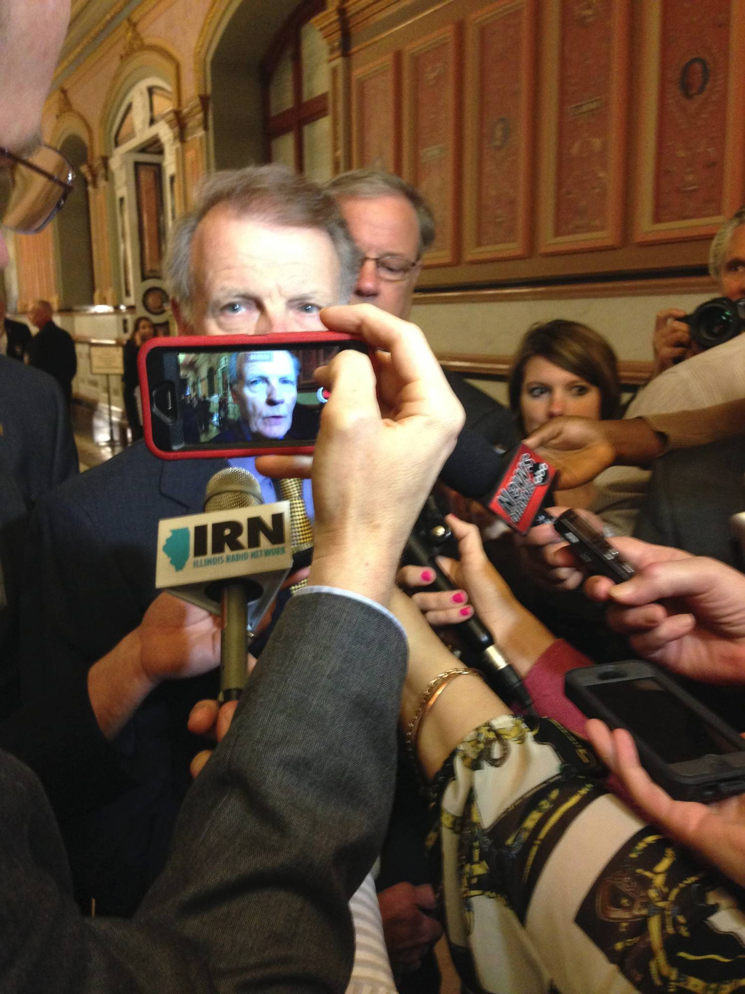 House Speaker Michael Madigan takes tax questions from reporters Wednesday.