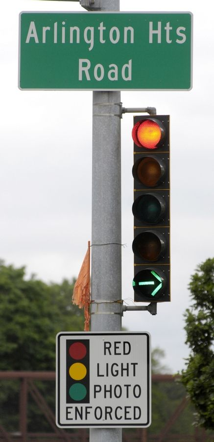 Red-light cameras in Elk Grove Village, including one at the intersection of Arlington Heights and Higgins roads, are staying put for another six years, the village board decided Tuesday.