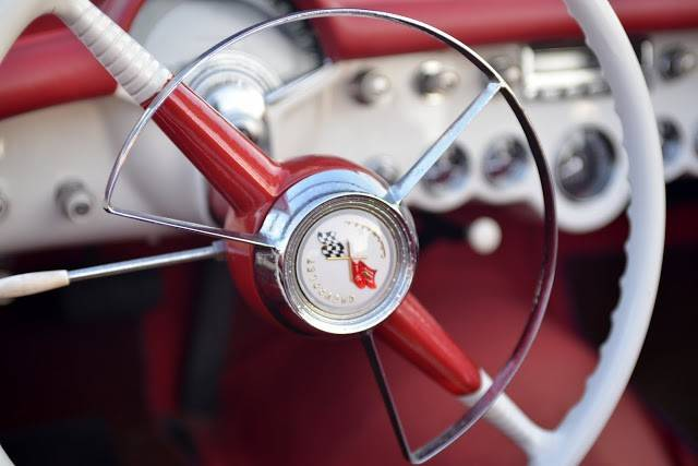 This is a detail shot of one of the vehicles displayed last summer at a Mount Prospect Blues Mobile Cruise Night.