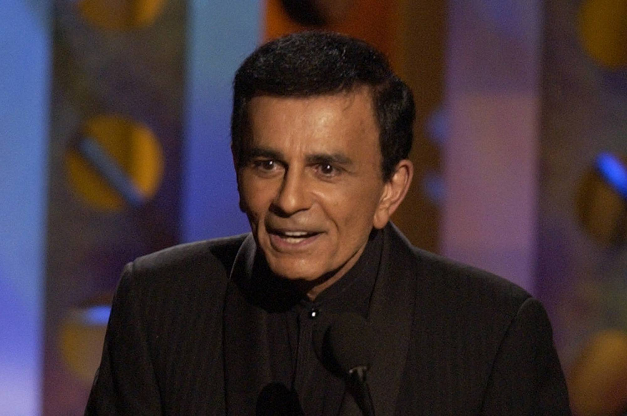 FILE - Casey Kasem accepts a radio icon award during the Radio Music Awards Monday, in this Oct. 27, 2003 file photo taken at the Aladdin Hotel in Las Vegas. Santa Monica Police Department Sgt. Mario Toti said Kasem was located a few hours after his children filed a missing person's report on Wednesday May 14, 2014. Kasem, 82, suffers from advanced Parkinson's disease, can no longer speak and has been in various medical facilities chosen by his wife, Jean Kasem. (AP Photo/Joe Cavaretta, File)