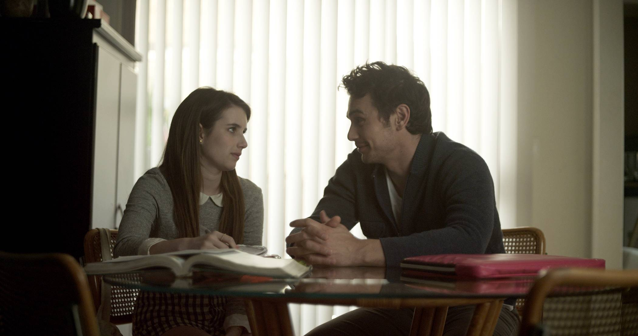 "April (Emma Roberts) has an inappropriate relationship with her soccer coach (James Franco) in ""Palo Alto."""