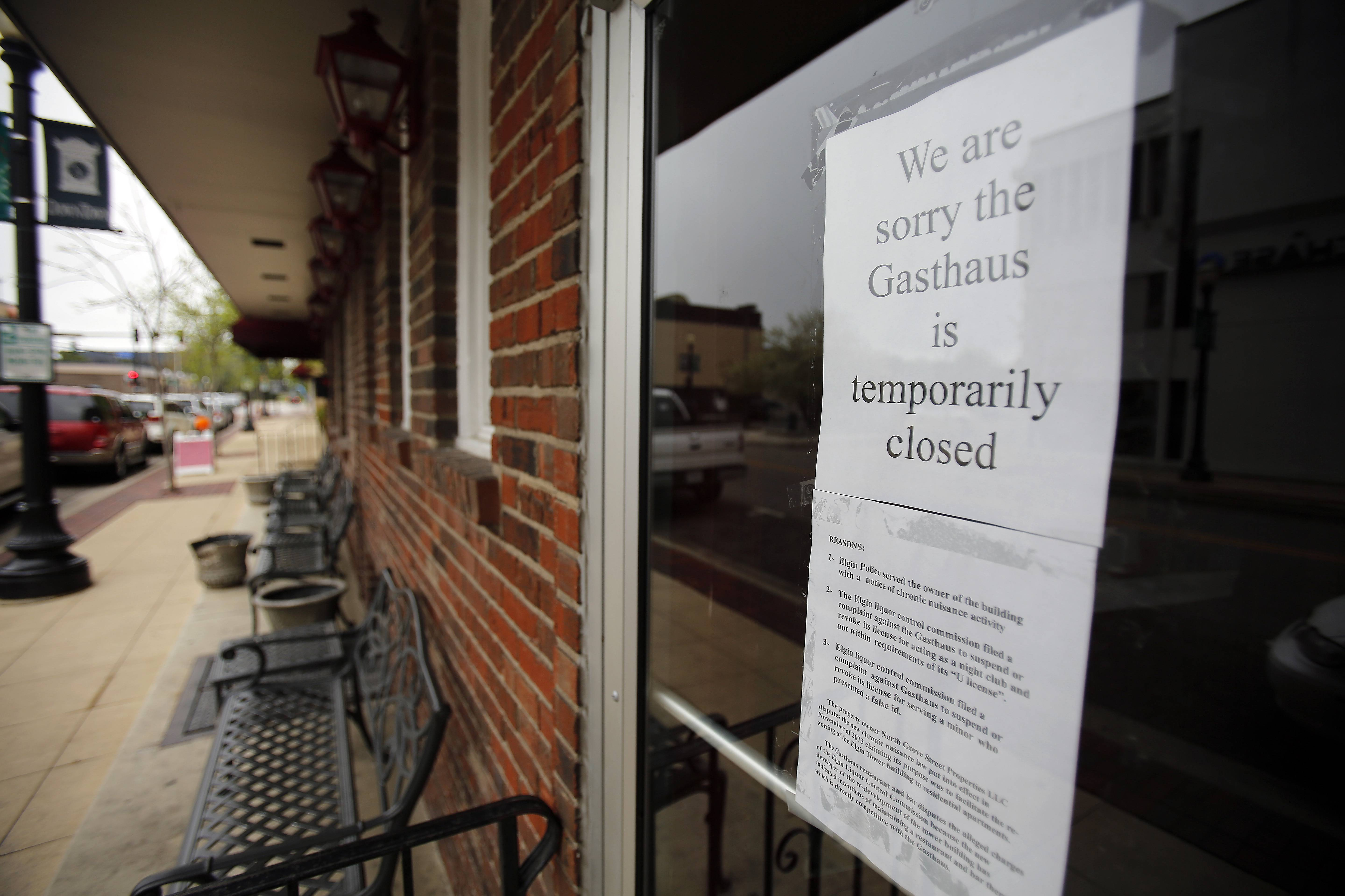 Gasthaus Zur Linde owner Marco Muscarello said he temporarily closed the bar after receiving on May 5 a notice of chronic nuisance activity from the city of Elgin.