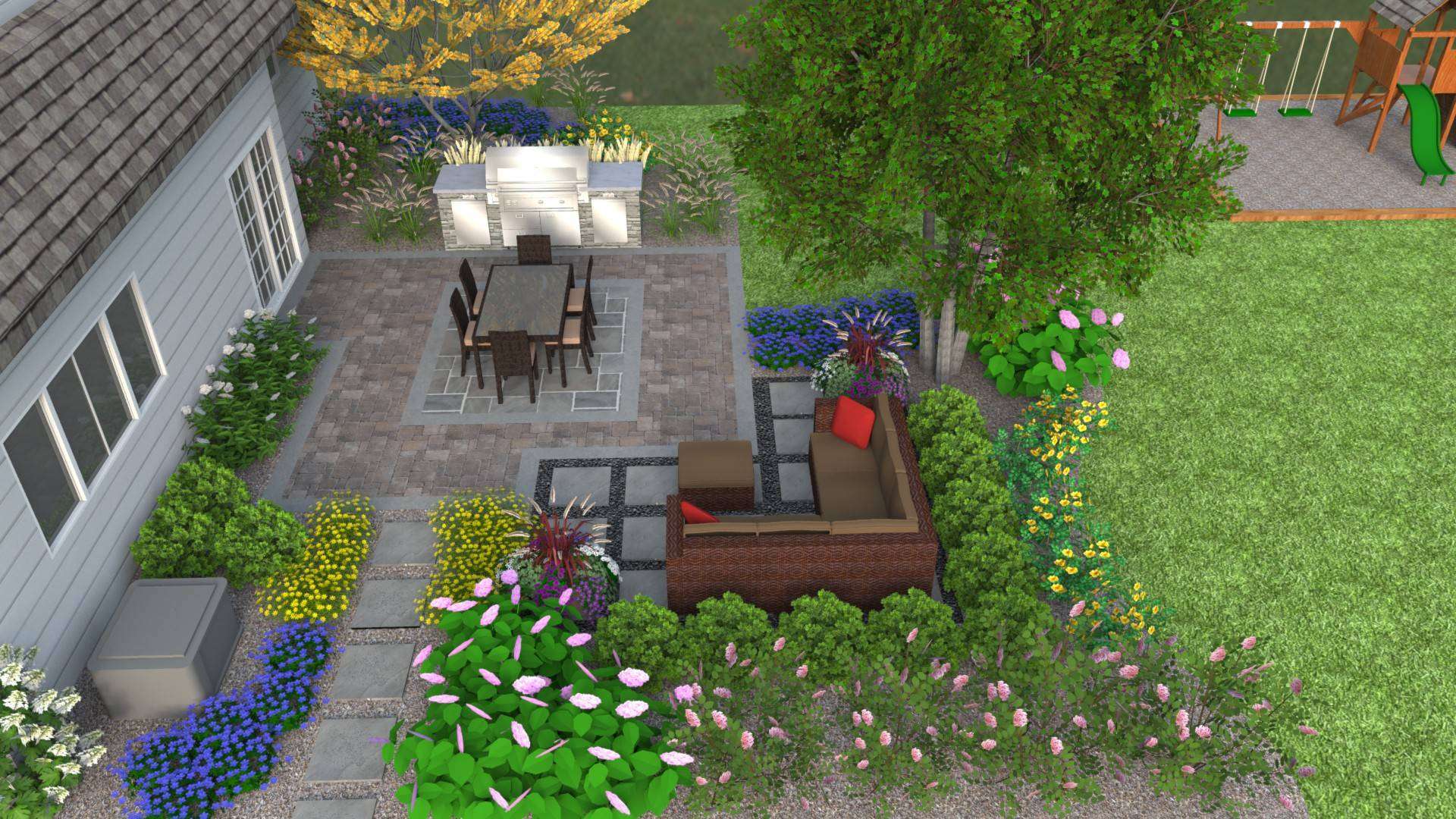 A new patio space with a built-in kitchen, along with a play area  for kids, will turn this yard into a great place to entertain.