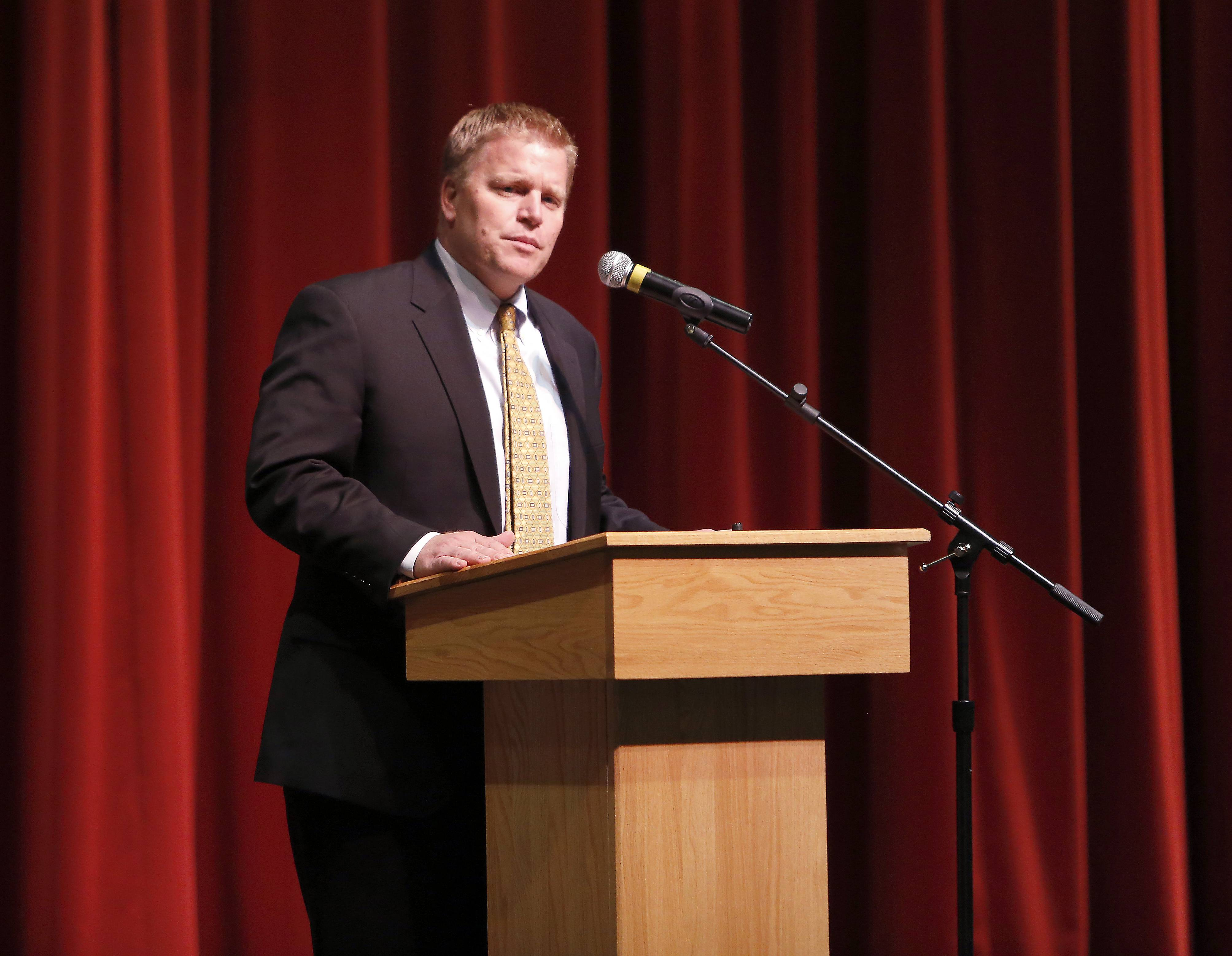 Kaneland District 302 Superintendent Jeff Schuler addresses the crowd at a ceremony Thursday where Kaneland High School received a state Academic Improvement Award.