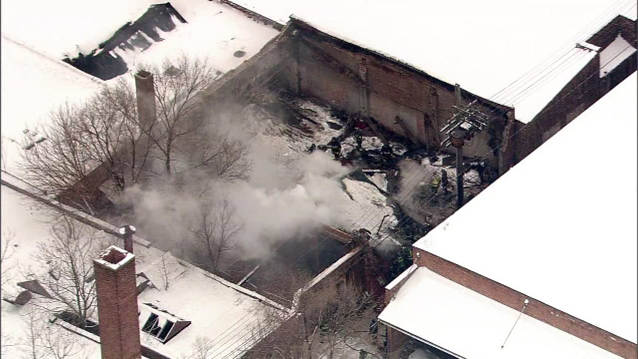 An aerial view of the roof collapse that killed 2 Chicago firefighters and injured more than a dozen others on Dec. 22, 2010.