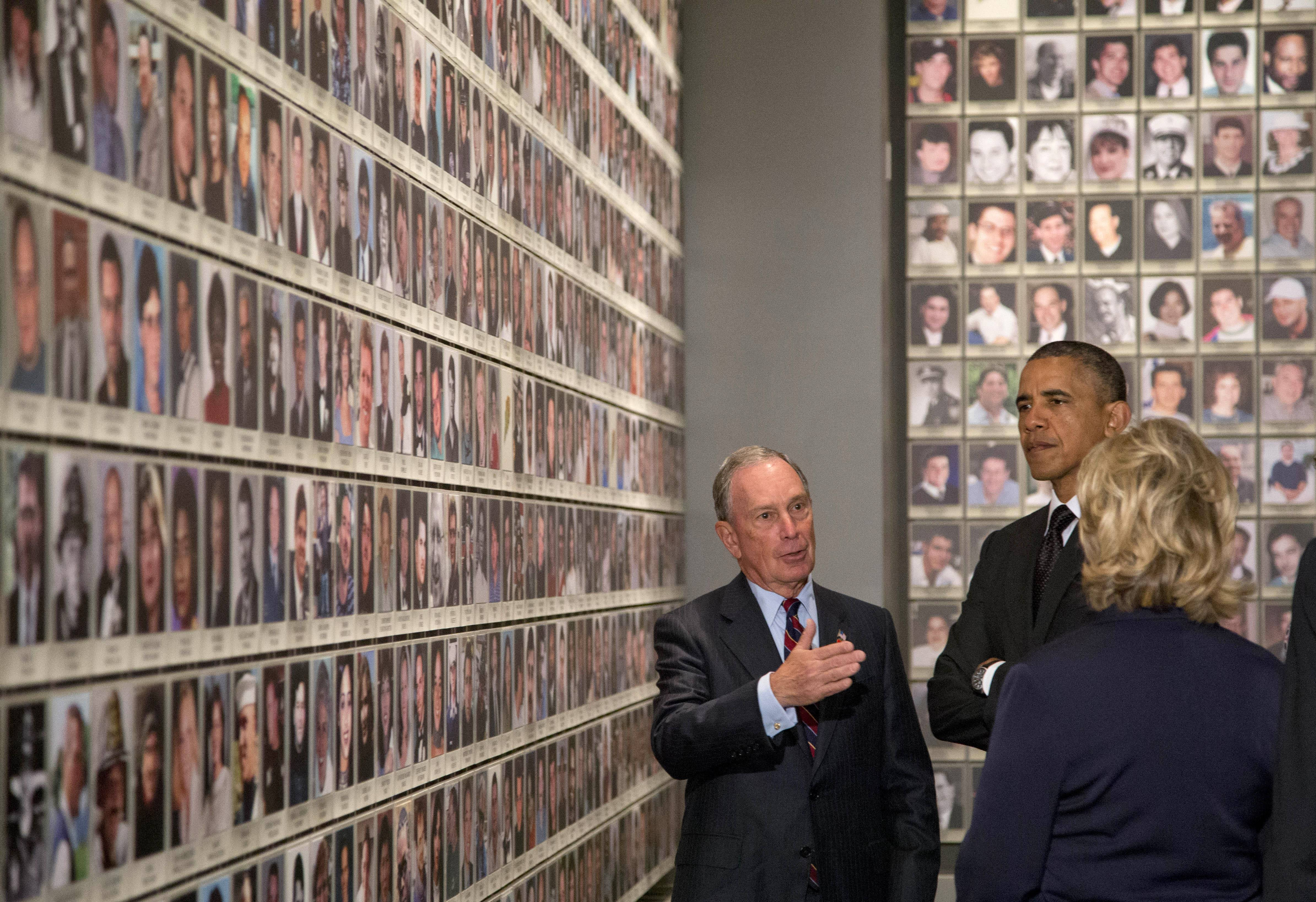 President Barack Obama and former Secretary of State Hillary Rodham Clinton tour  Memorial Hall at the National September 11 Memorial Museum with former New York City Mayor Michael Bloomberg. Speaking at the dedication, the president said, no act of terror can match the strength and character of the United States.