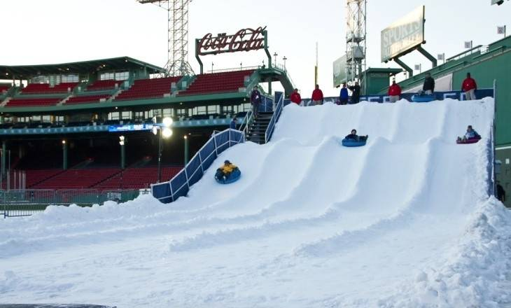 A temporary snow hill installed last winter at Boston's Fenway Park caught the eye of Rosemont officials, who plan to install a similar one in their entertainment district next winter.