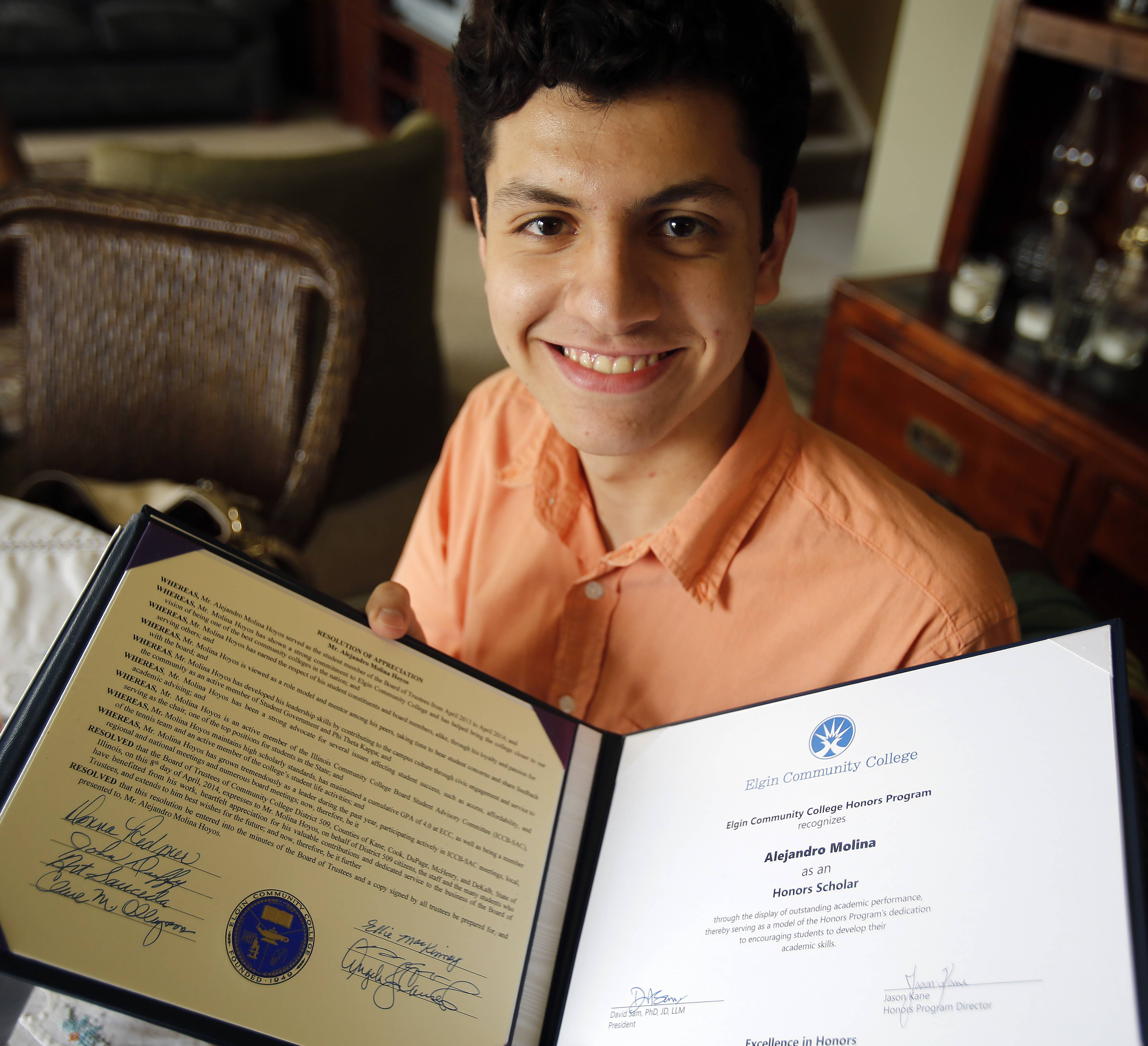 Alejandro Molina Hoyos of Pingree Grove leads the student advisory committee of the Illinois Board of Higher Education  and was an honors student at Elgin Community College.