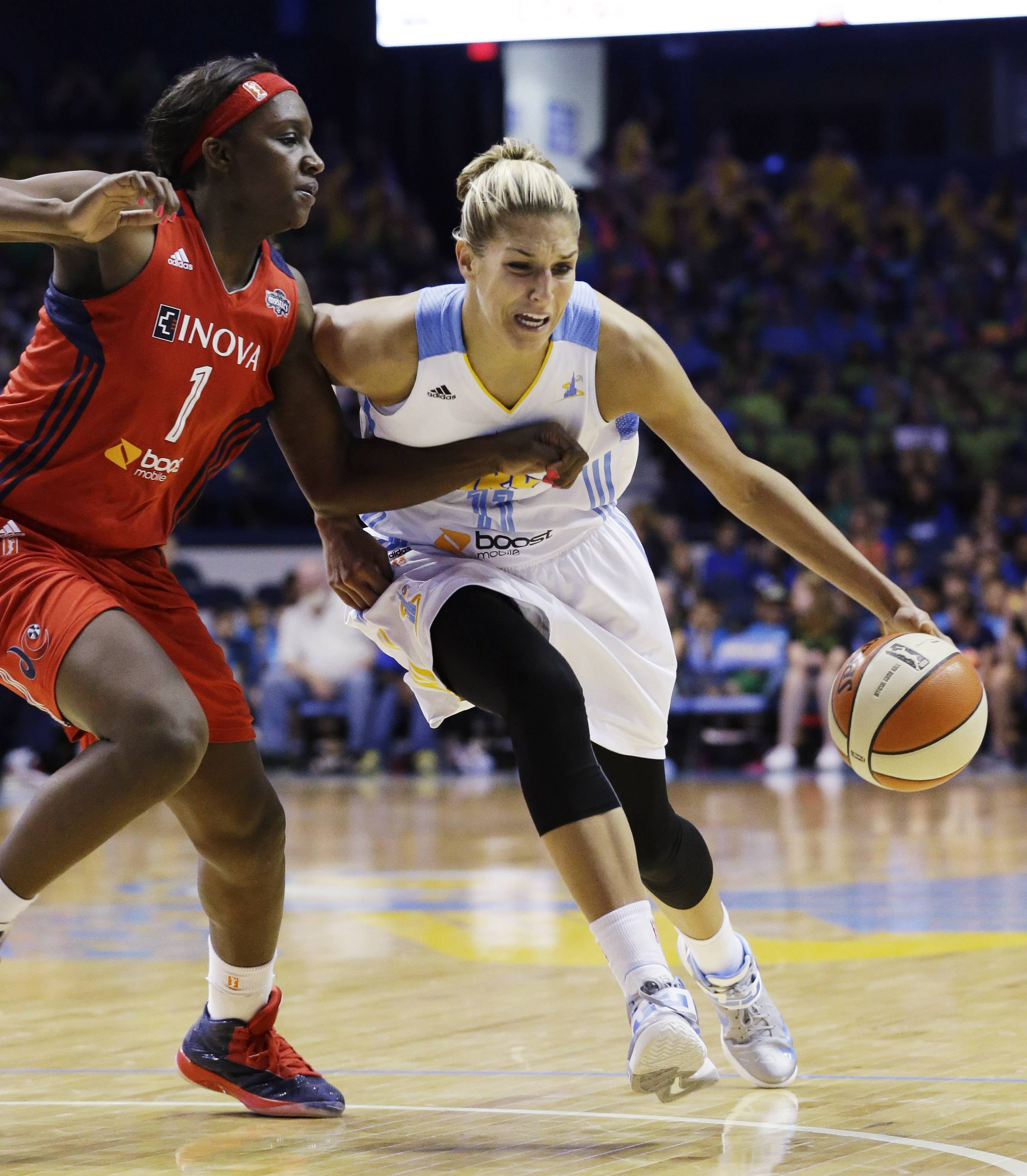 Holes in the Chicago Sky lineup likely mean a heavier load this season for Elena Delle Donne, right, the 2013 WNBA rookie of the year.